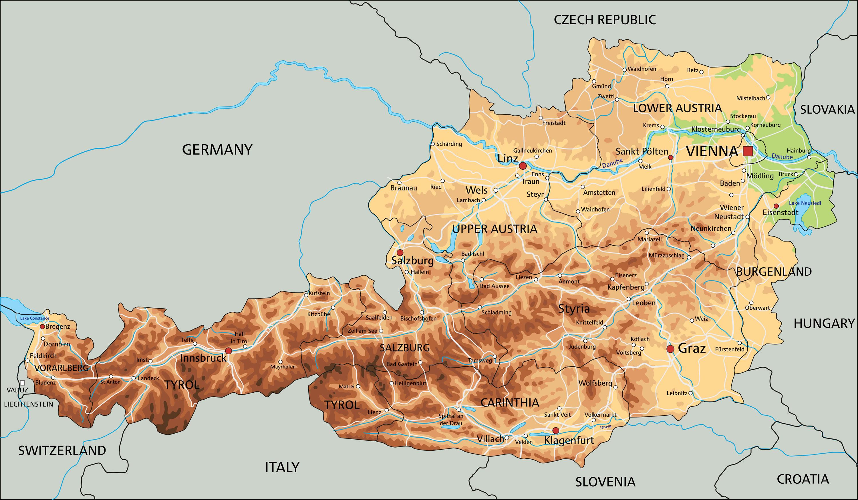 Austria Physical Map