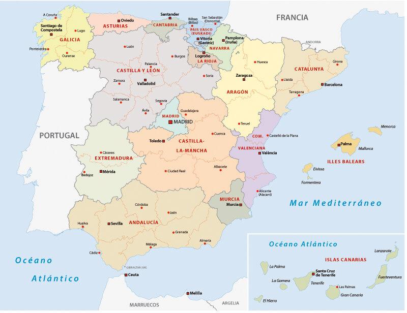 Autonomous communities map of Spain