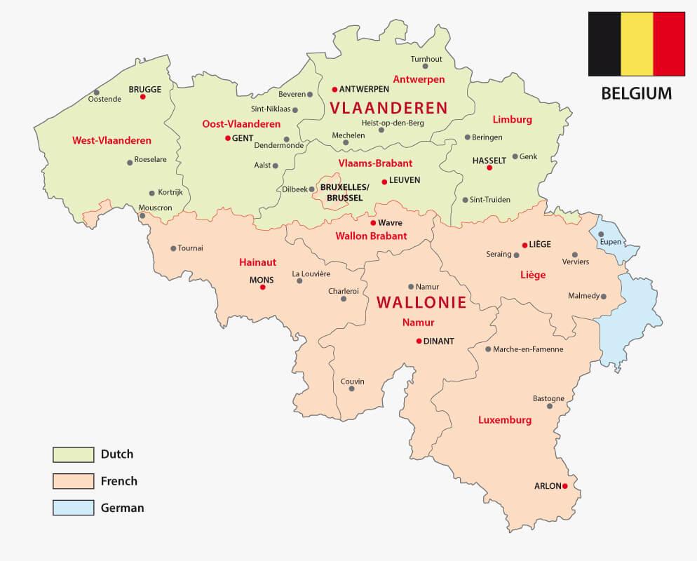 Belgian Regions Language Map