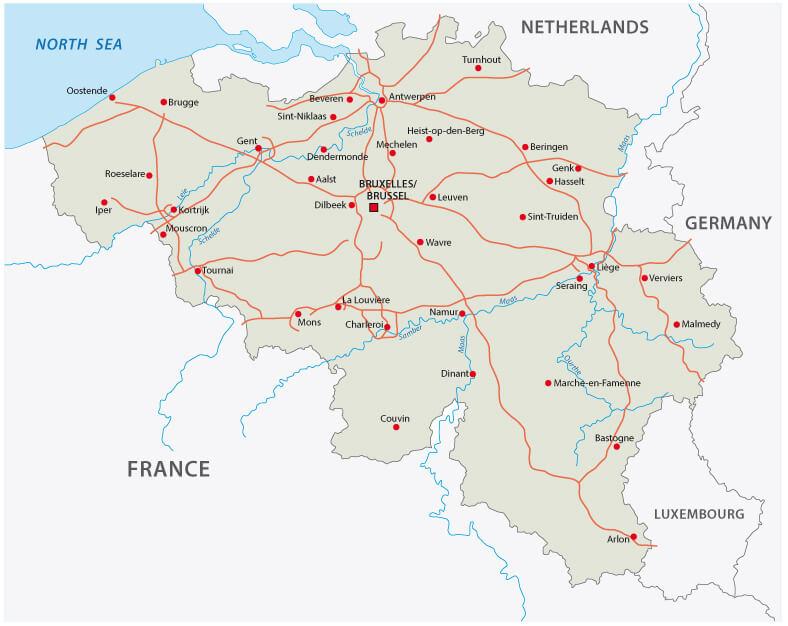 Belgium Highway Map