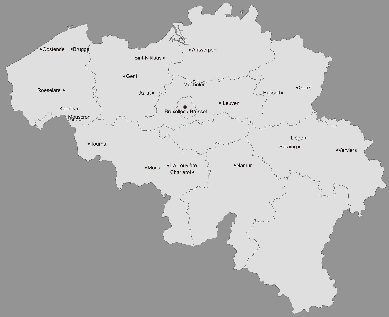 Belgium Map with Main Cities