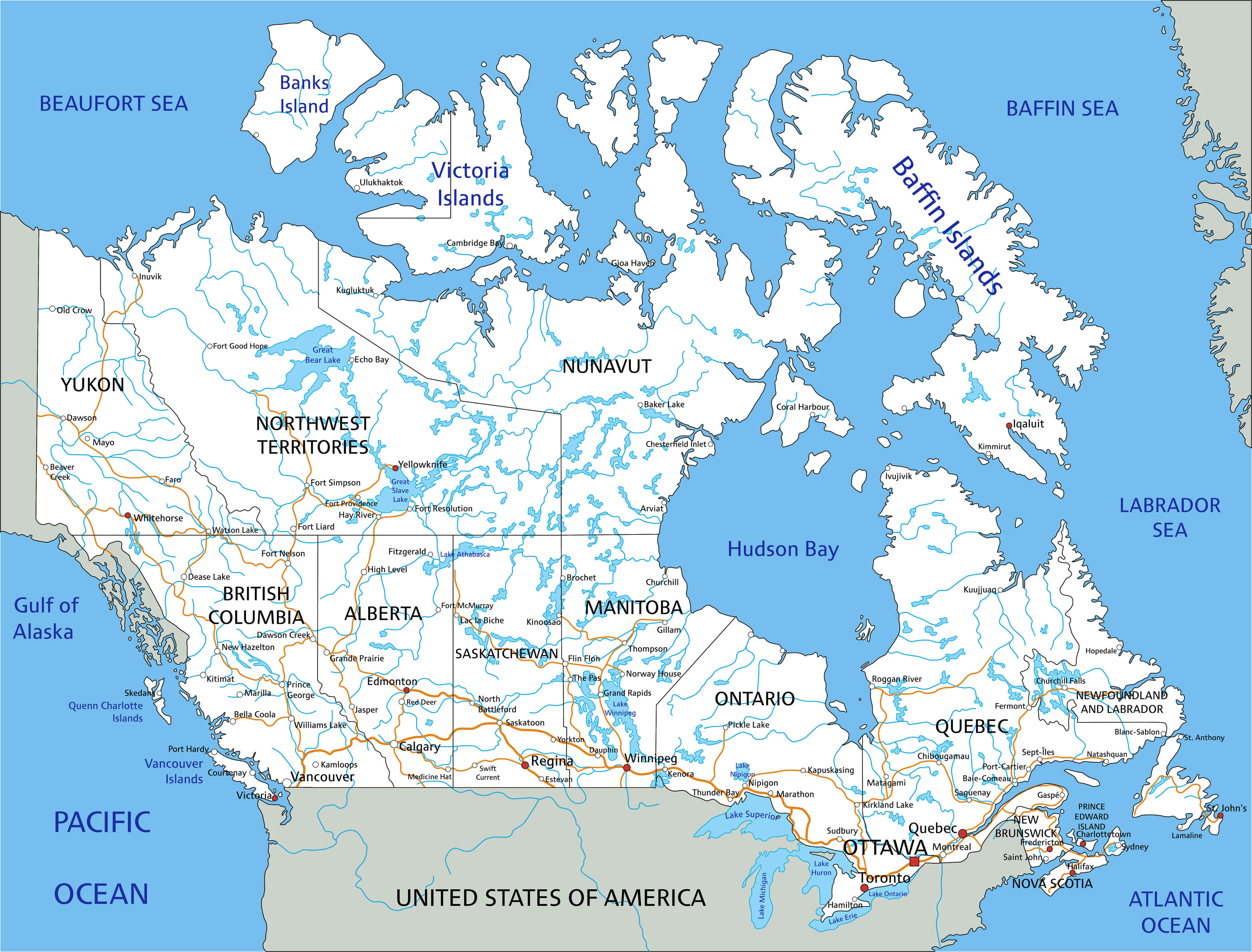 High Detailed Canada Road Map