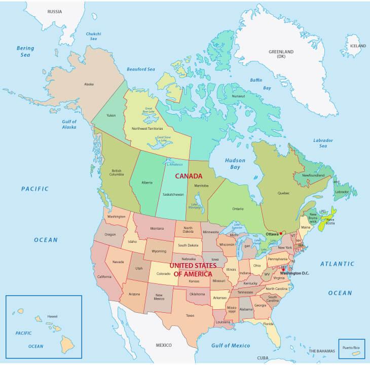 Canada Map USA, North America