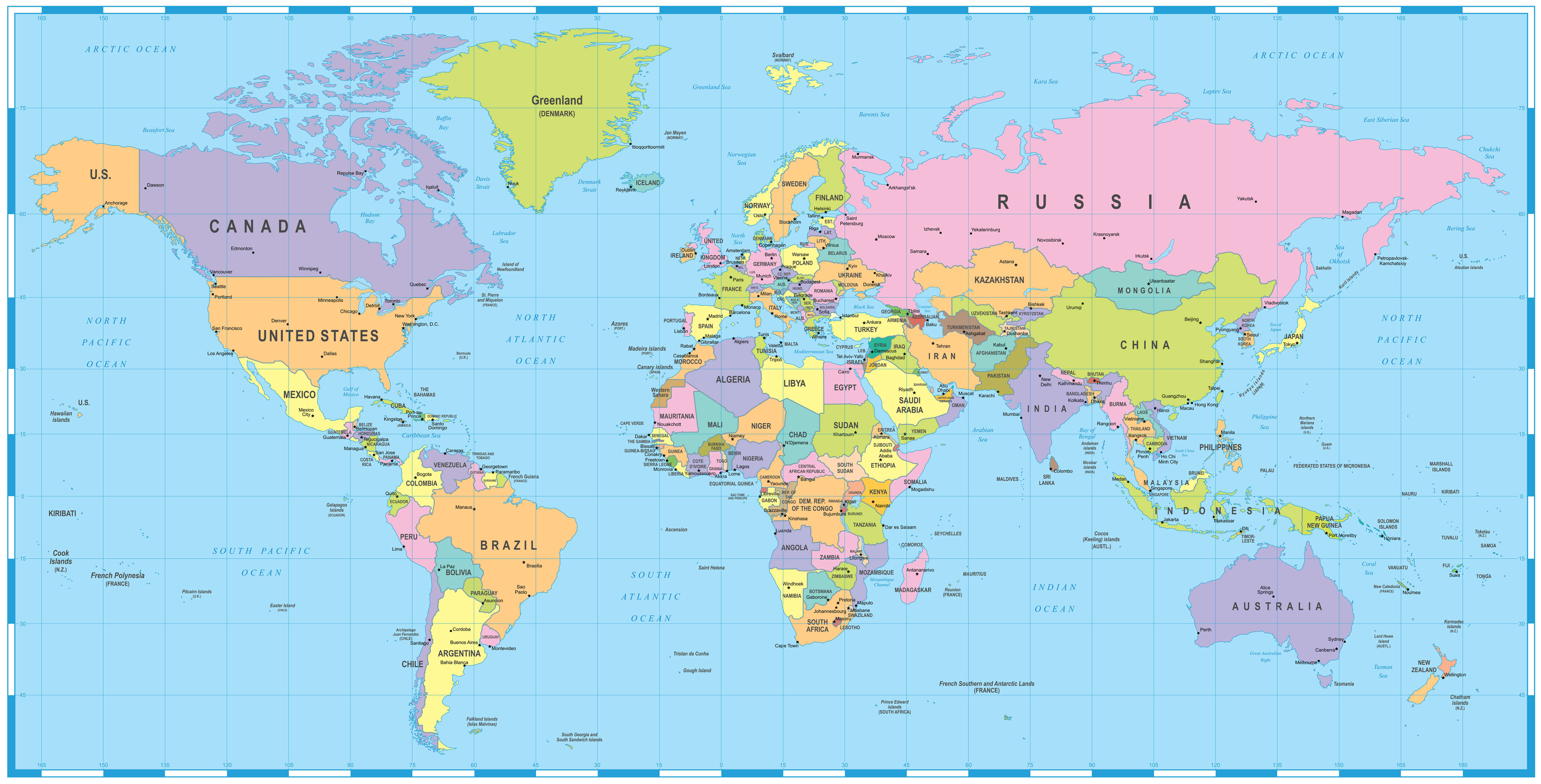 Colored World Map Africa