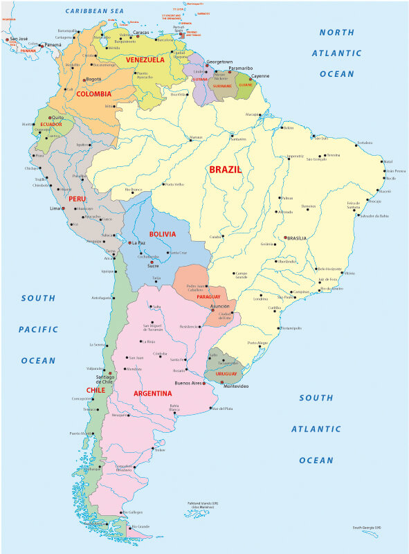 Countries in South America Map