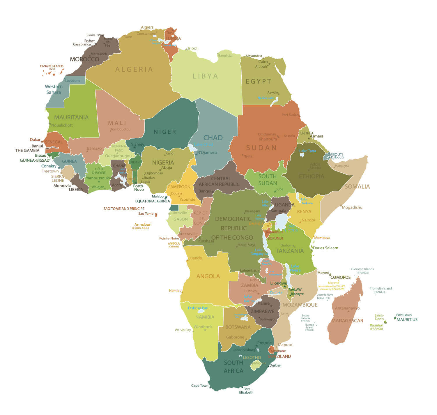 countries map of africa