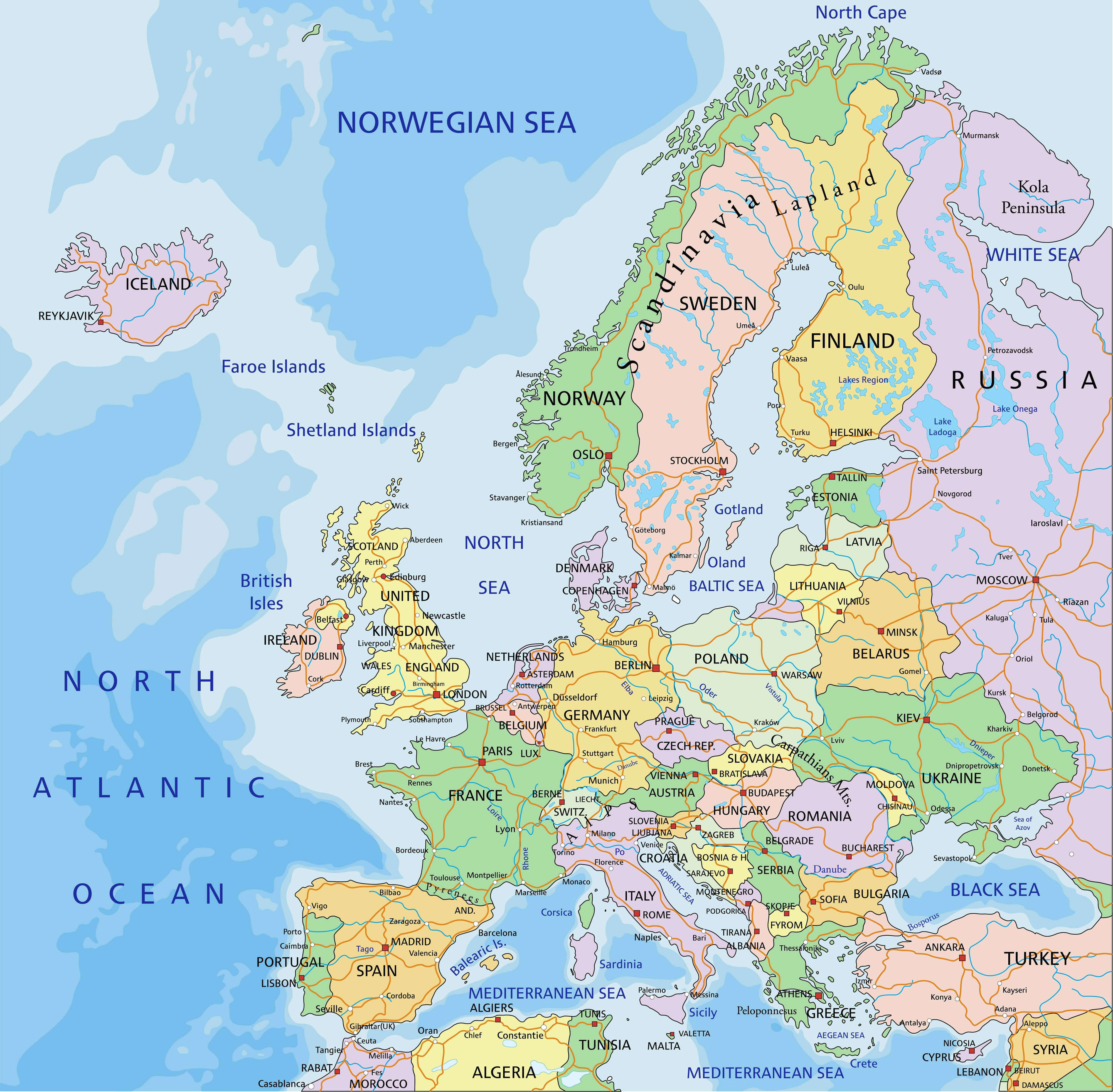 Countries Map of Europe