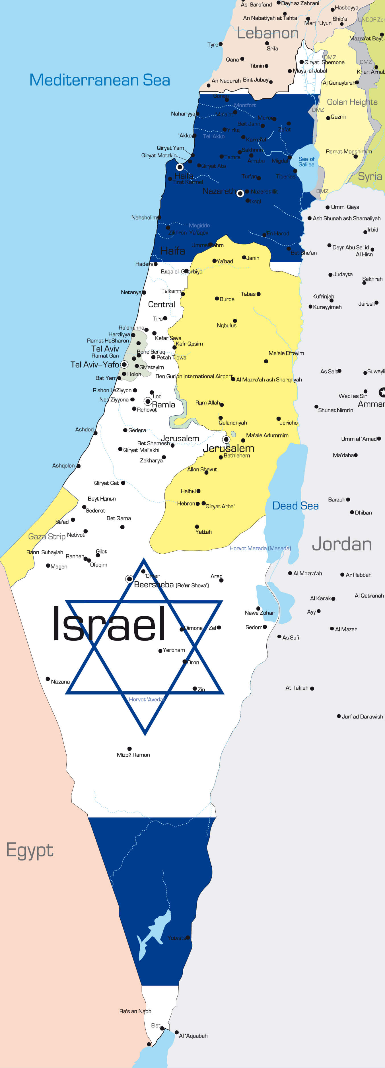 Country Map of Israel with Flag