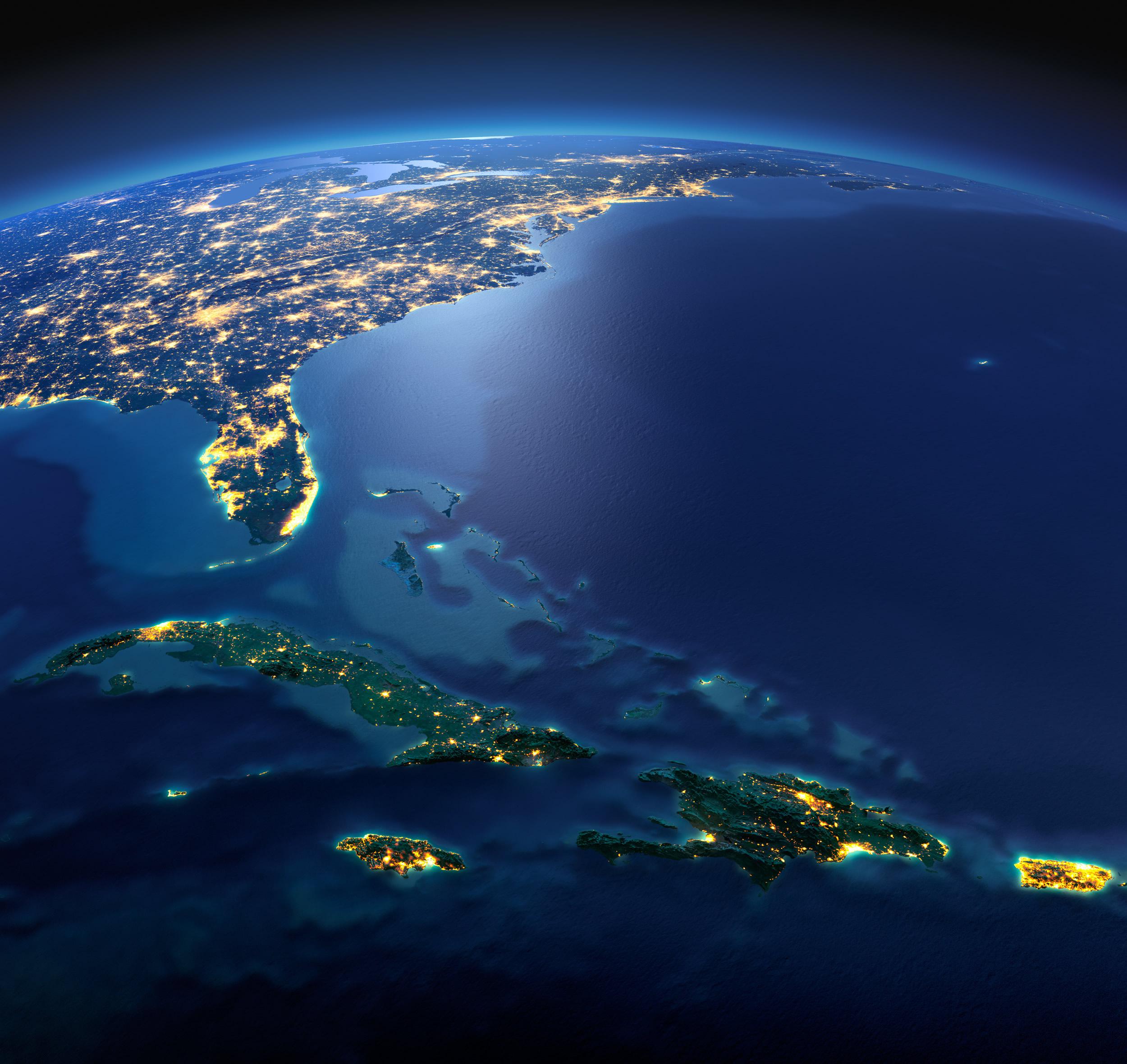 Cuba Satellite Map Caribbean islands, Haiti, Jamaica