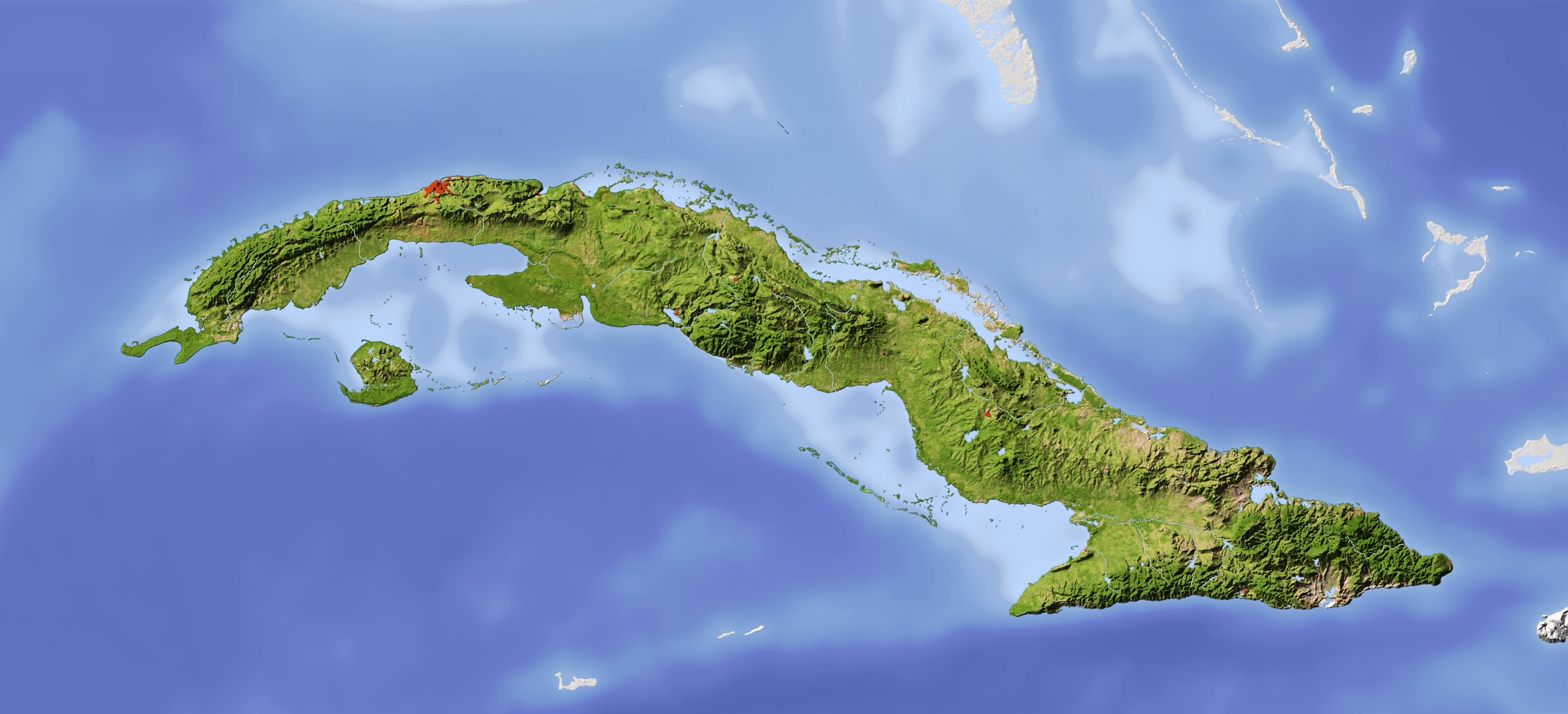 Cuba Shaded Relief Map
