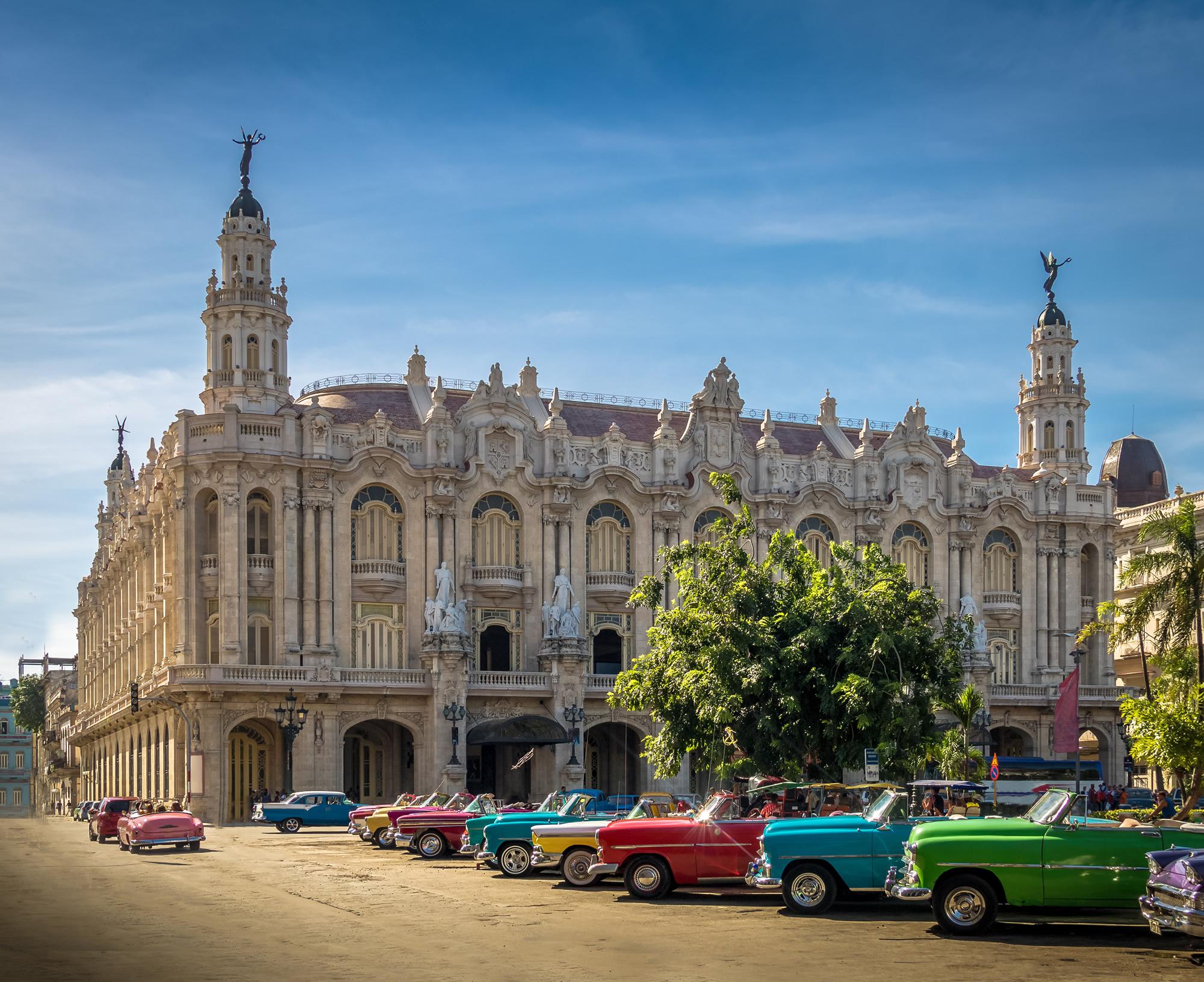 Cuban colorful vintage cars havana