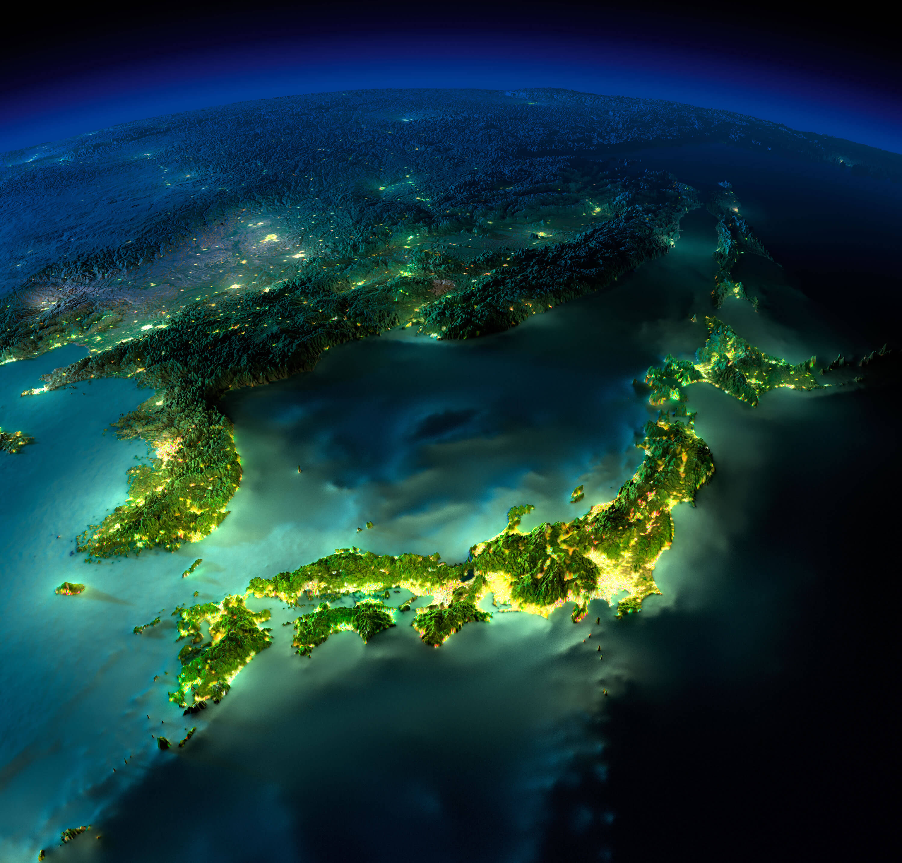 Detailed Earth Map of Asia