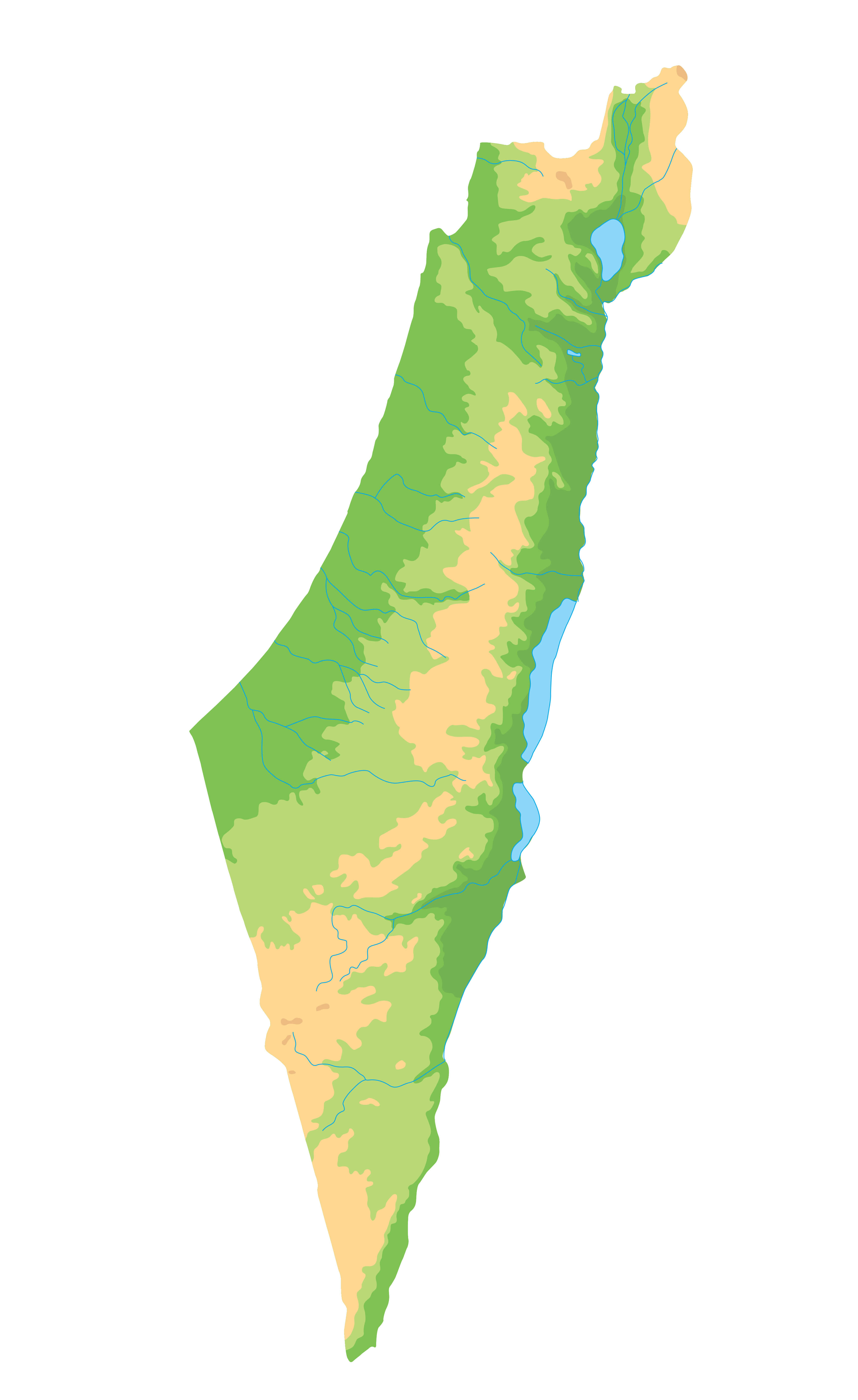 Detailed Israel Physical Map