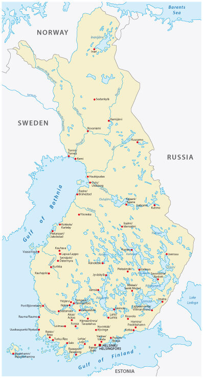 Finland Cities Map in Finnish and Swedish