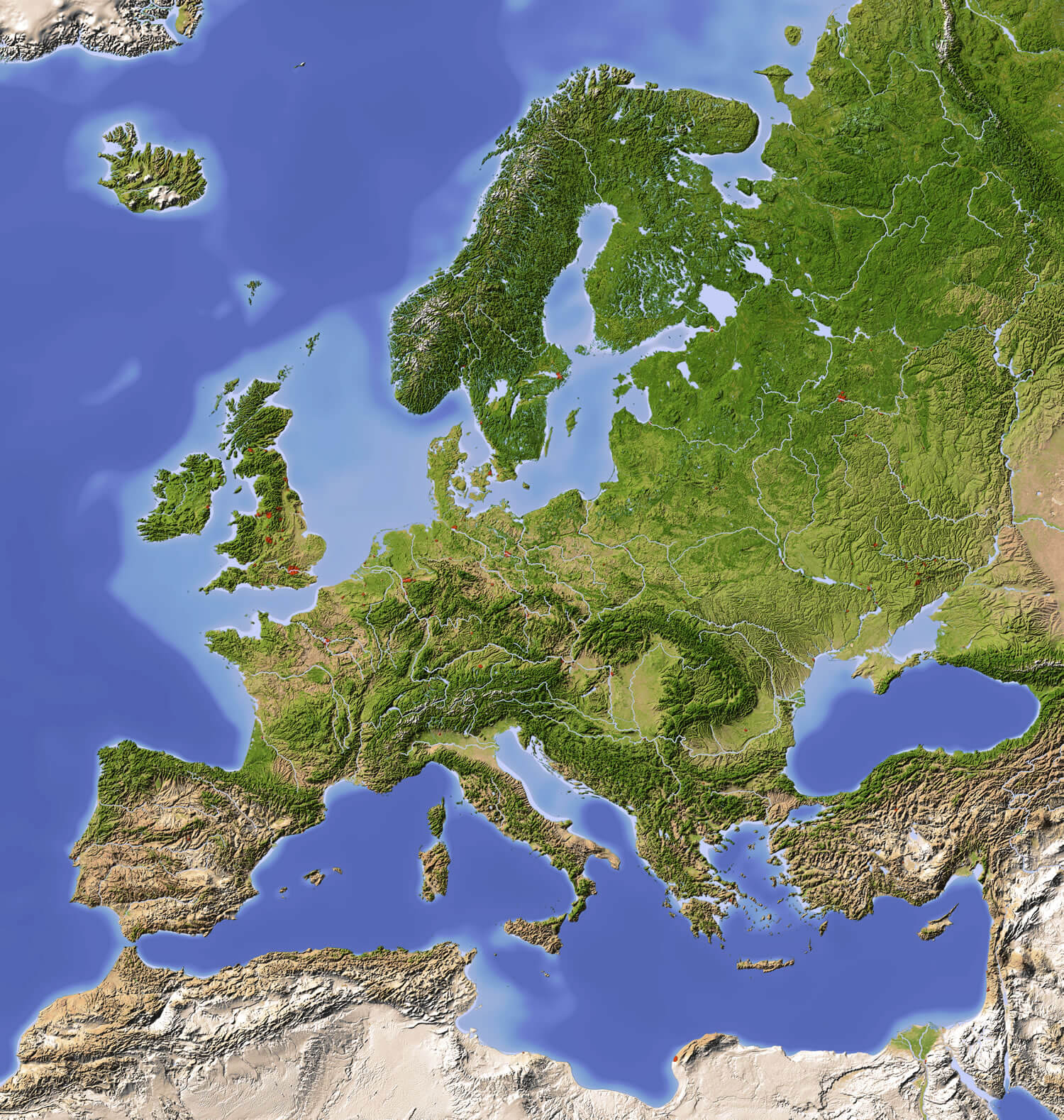 Finland Europe Shaded Relief Map