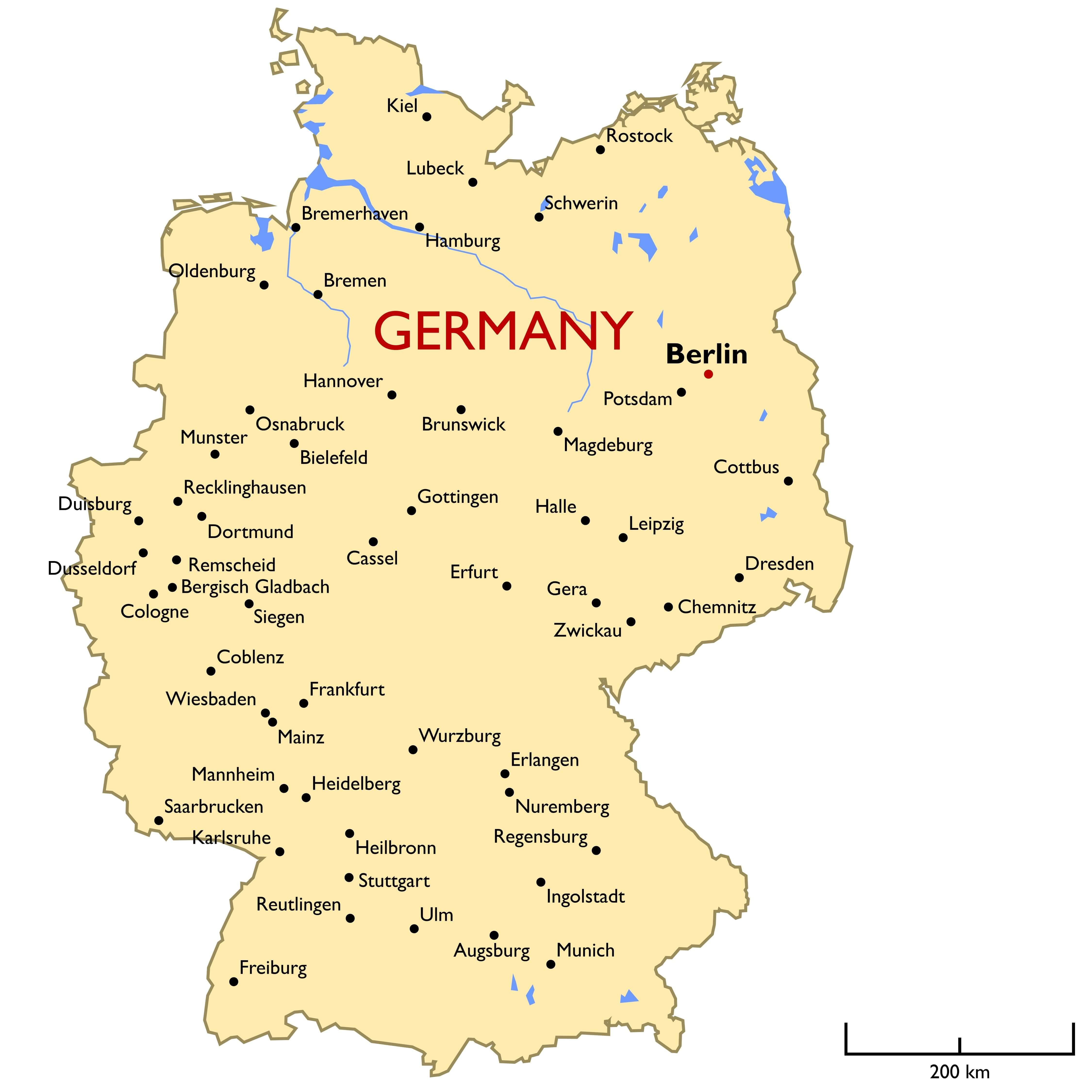 Germany Main Cities Map