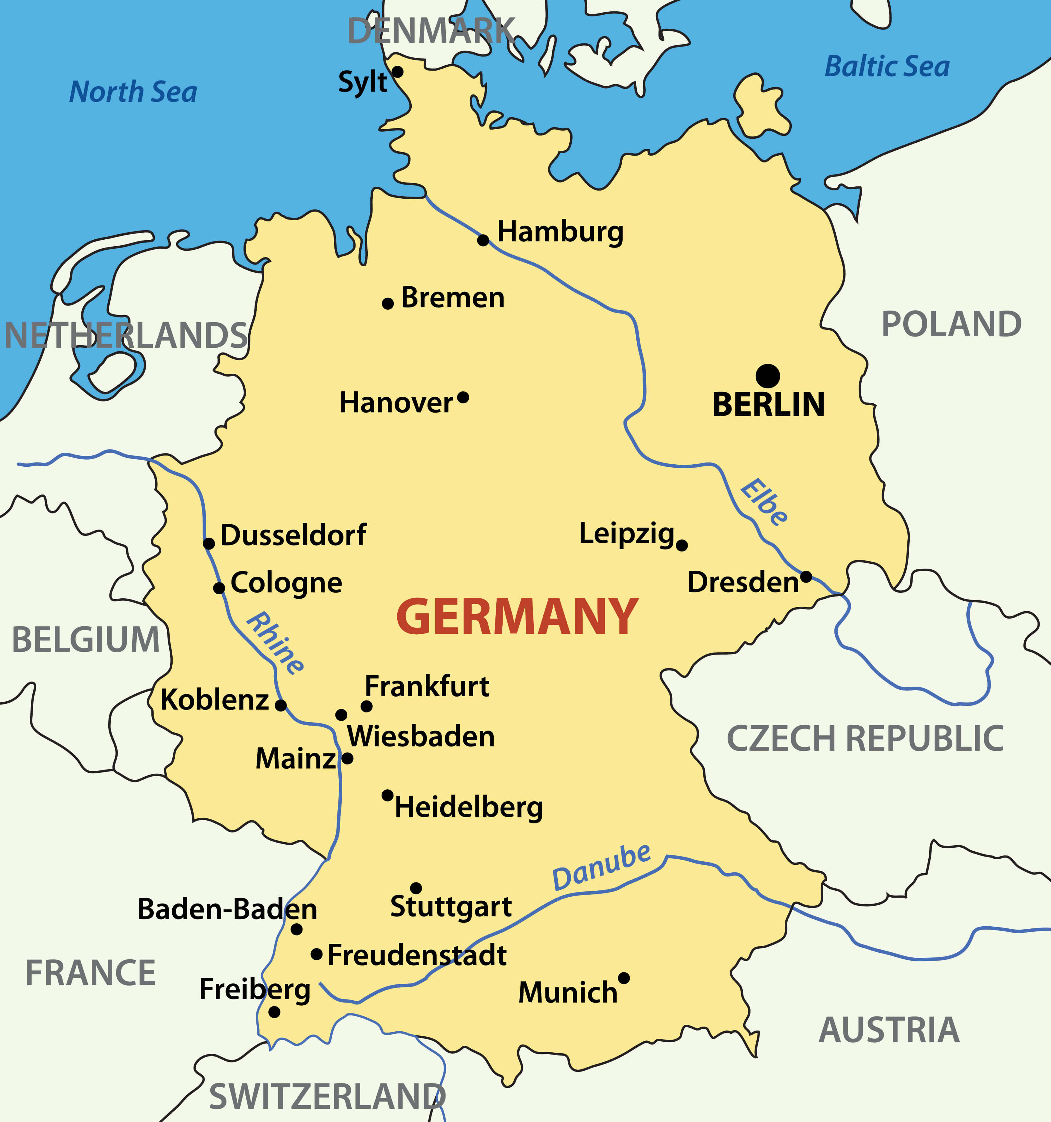 Germany Major Cities Rivers Map