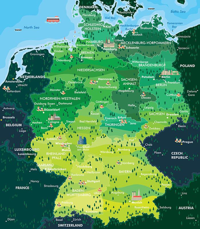 Germany Main Regions Cities Map