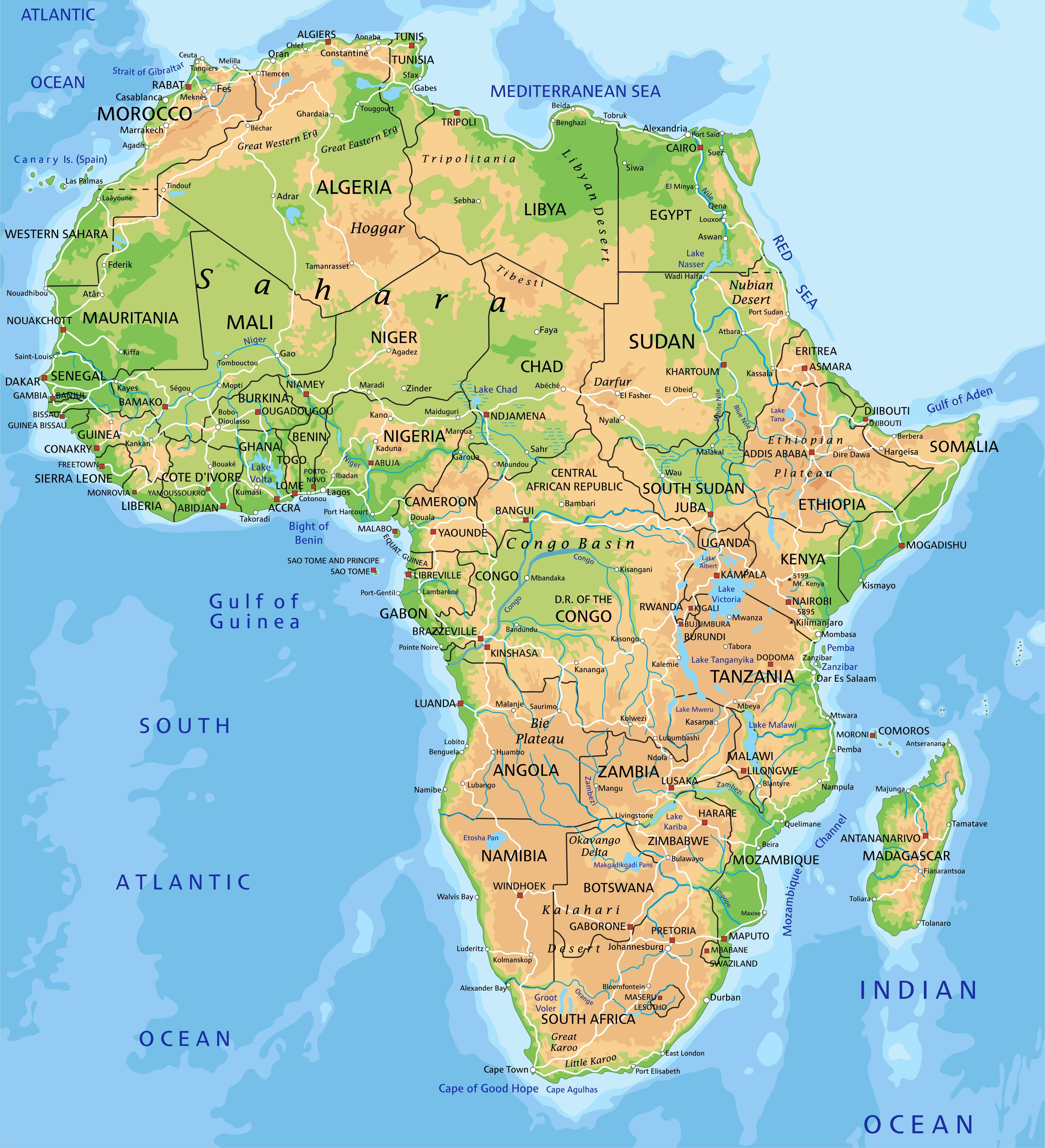 High Detailed Africa Physical Map