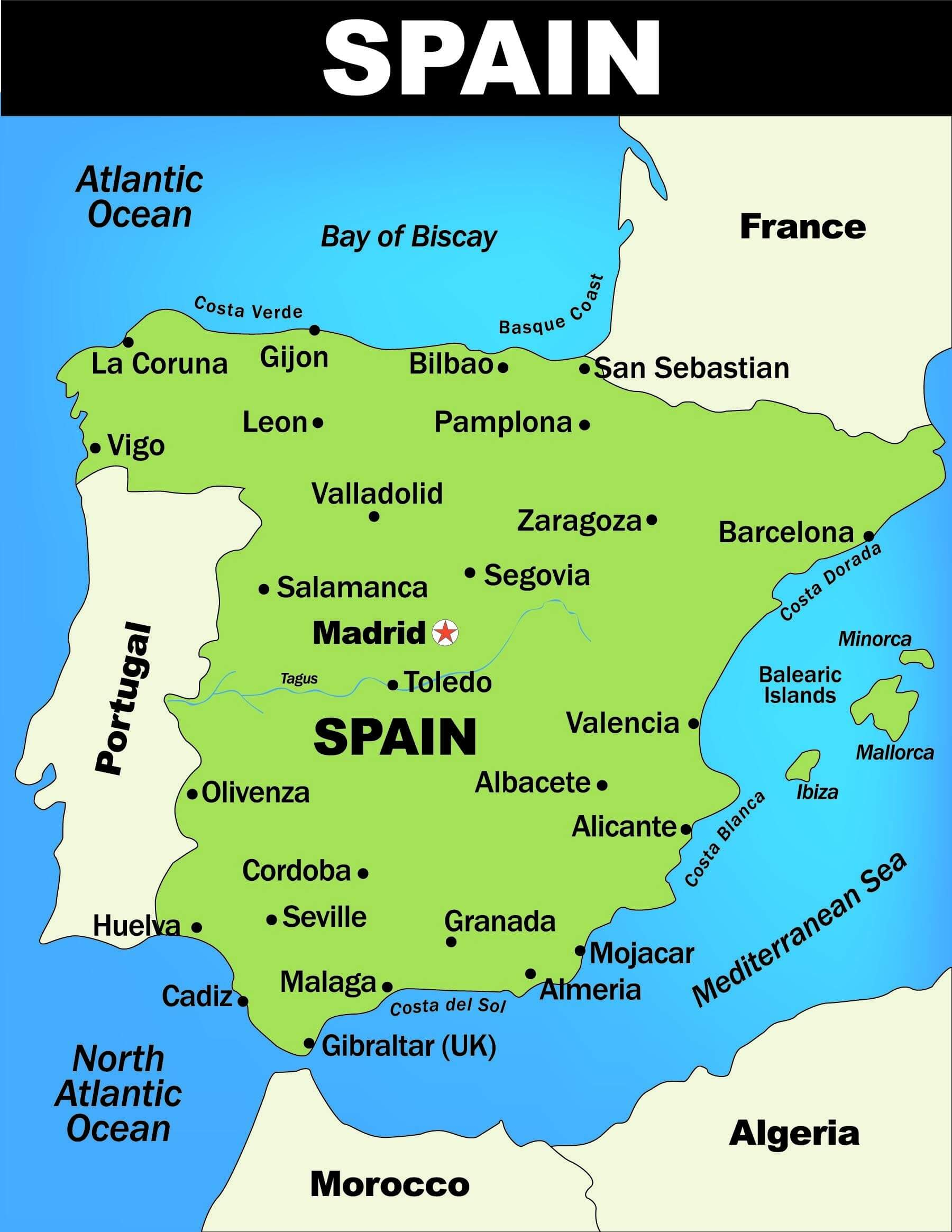 Illustrated Cities Map of Spain