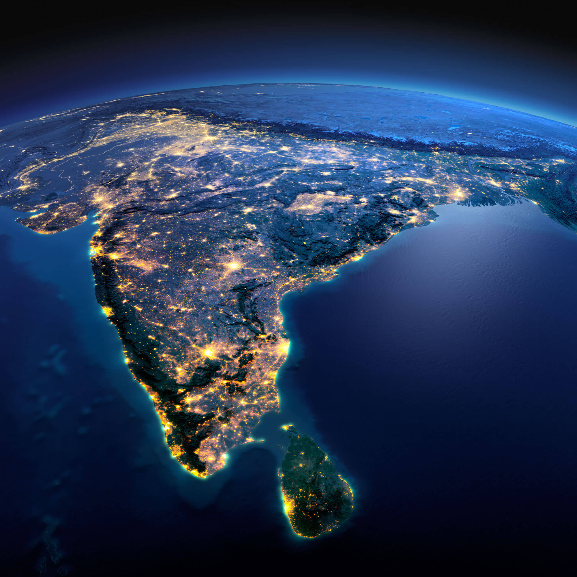 India Earth Satellite Map
