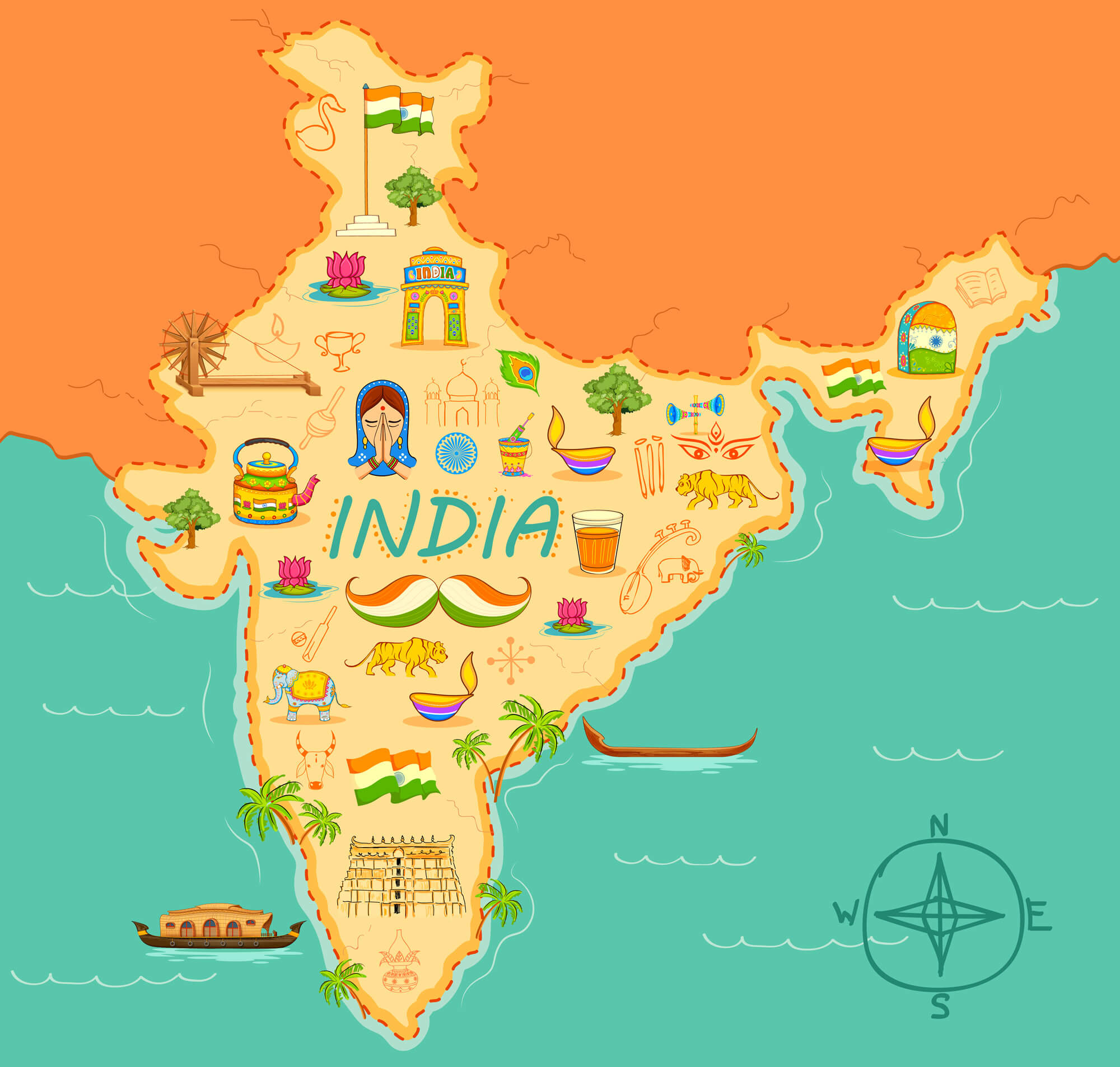 India Kitsch Art of Forming Map
