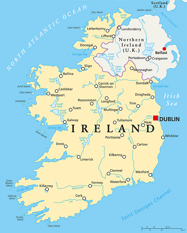 Ireland Main Cities Map