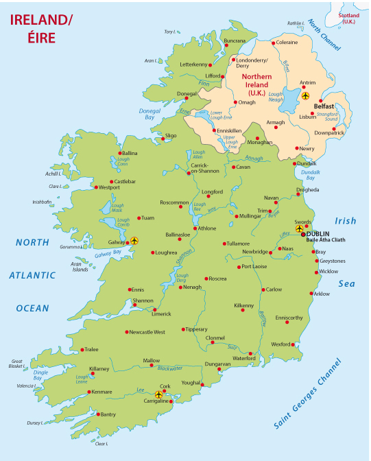 Ireland Regions Blank Map