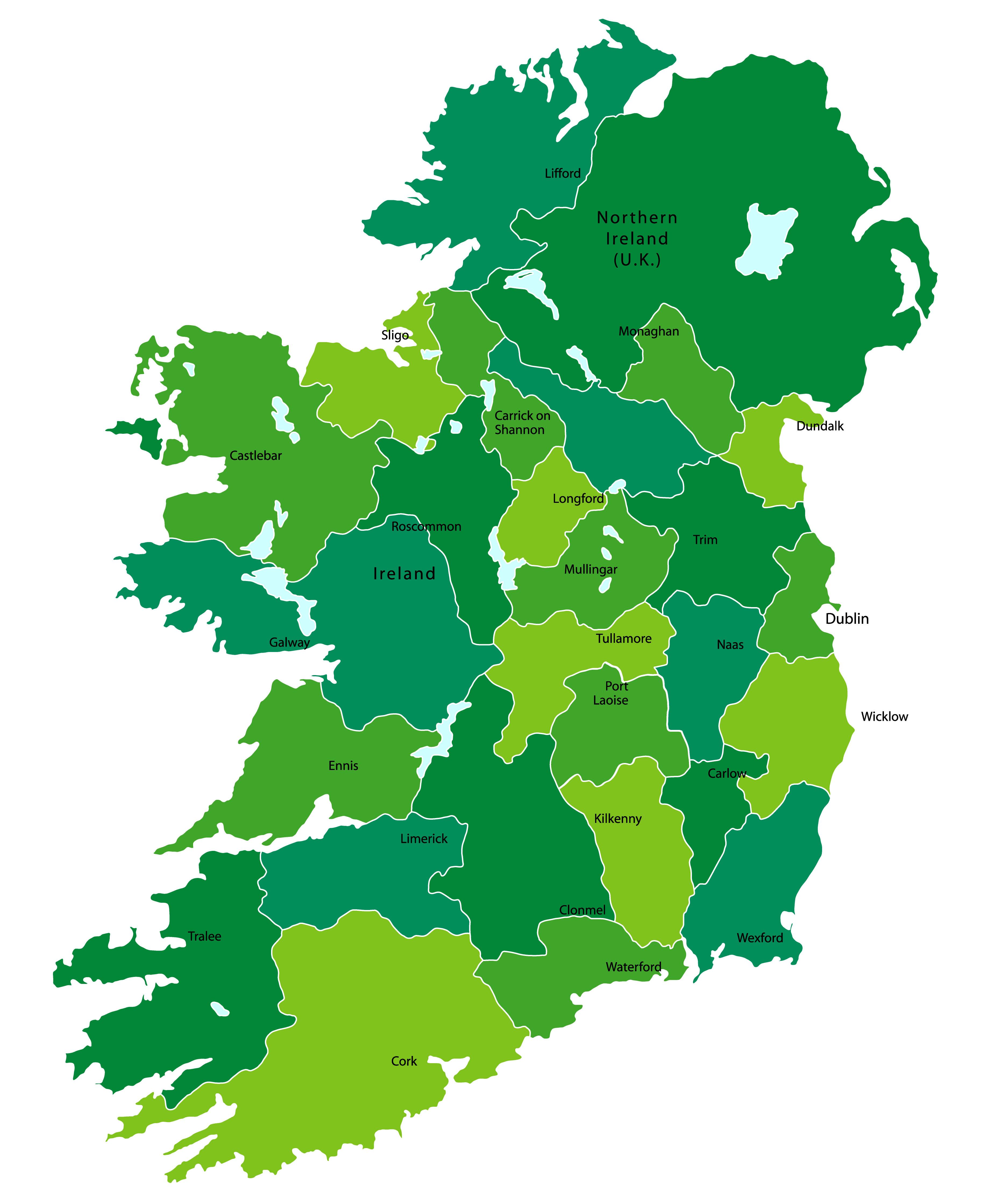 Ireland Regions Map