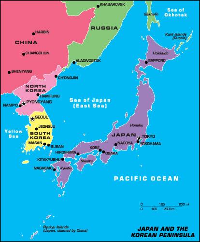 Japan and the Korean Peninsula Map