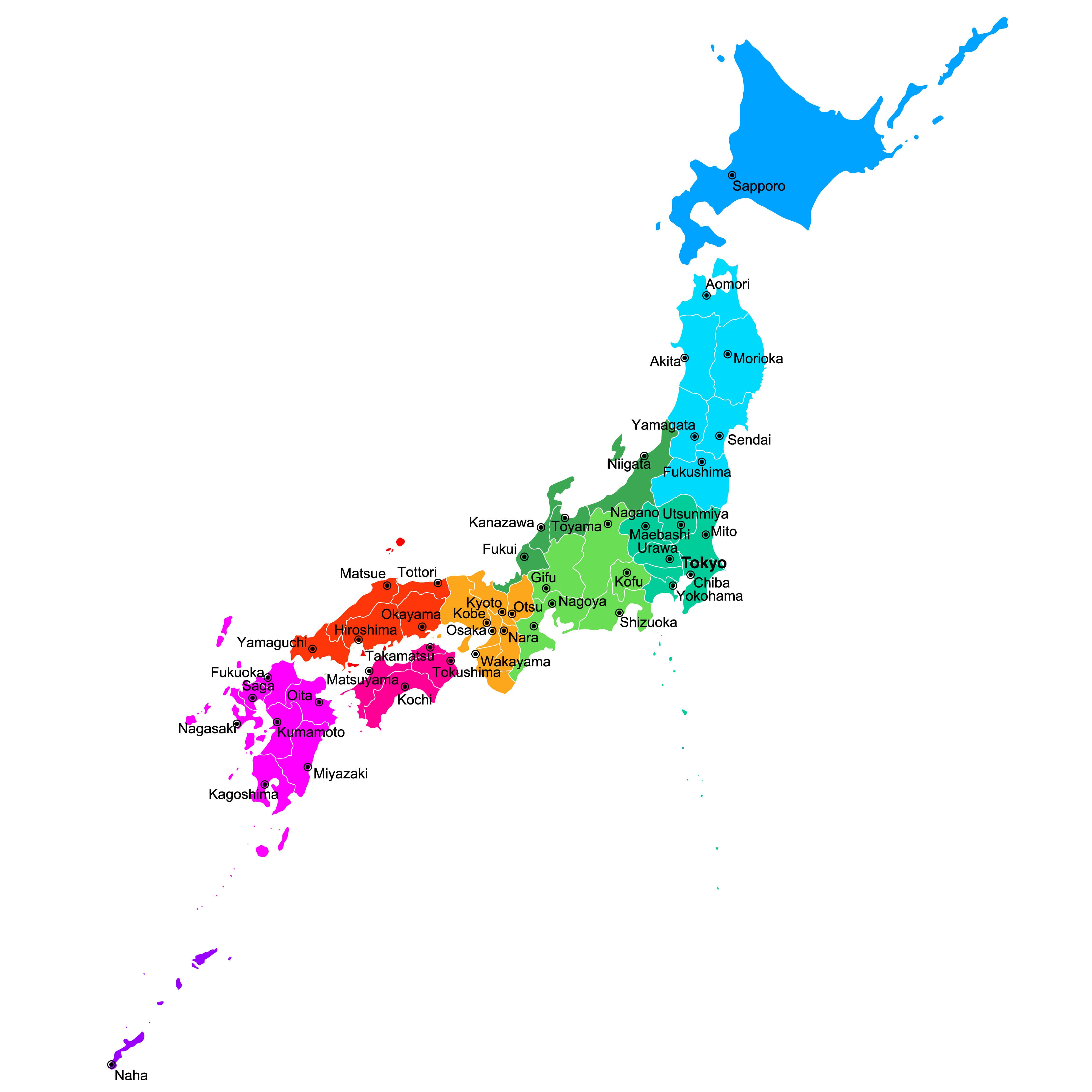 Japan Regions Map