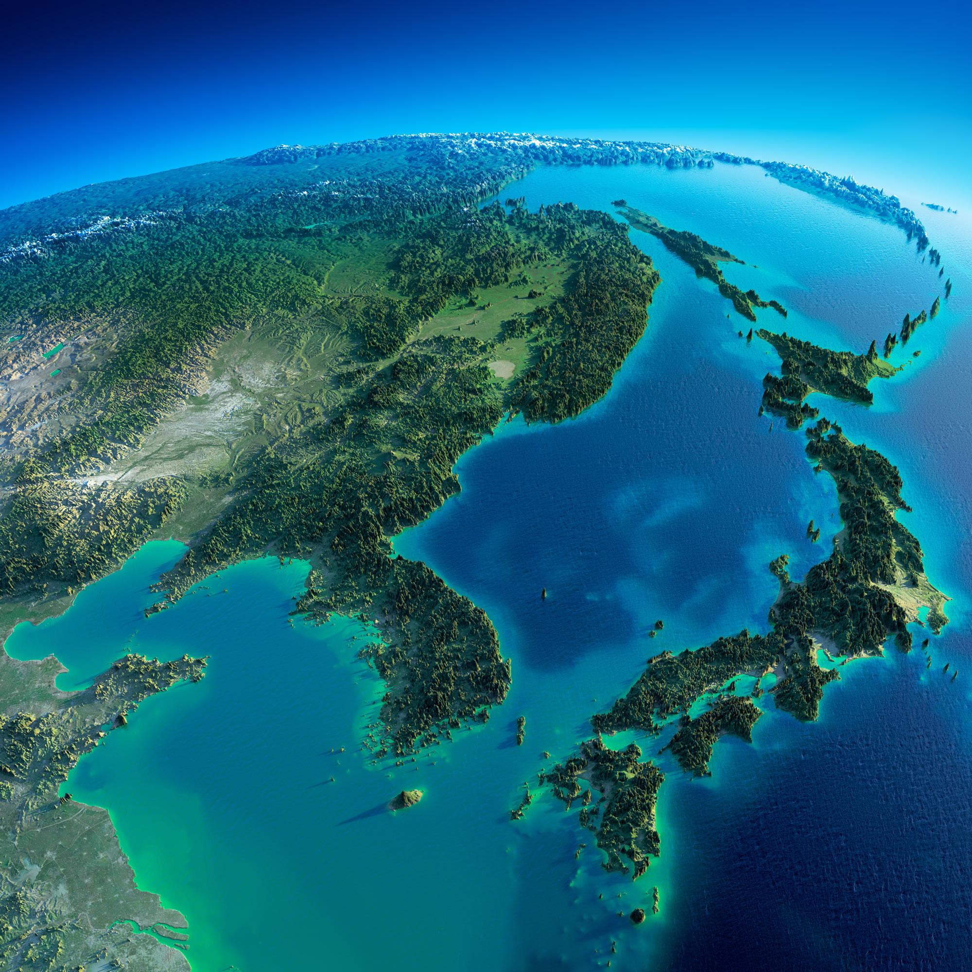 Korea and Japan Satellite Map