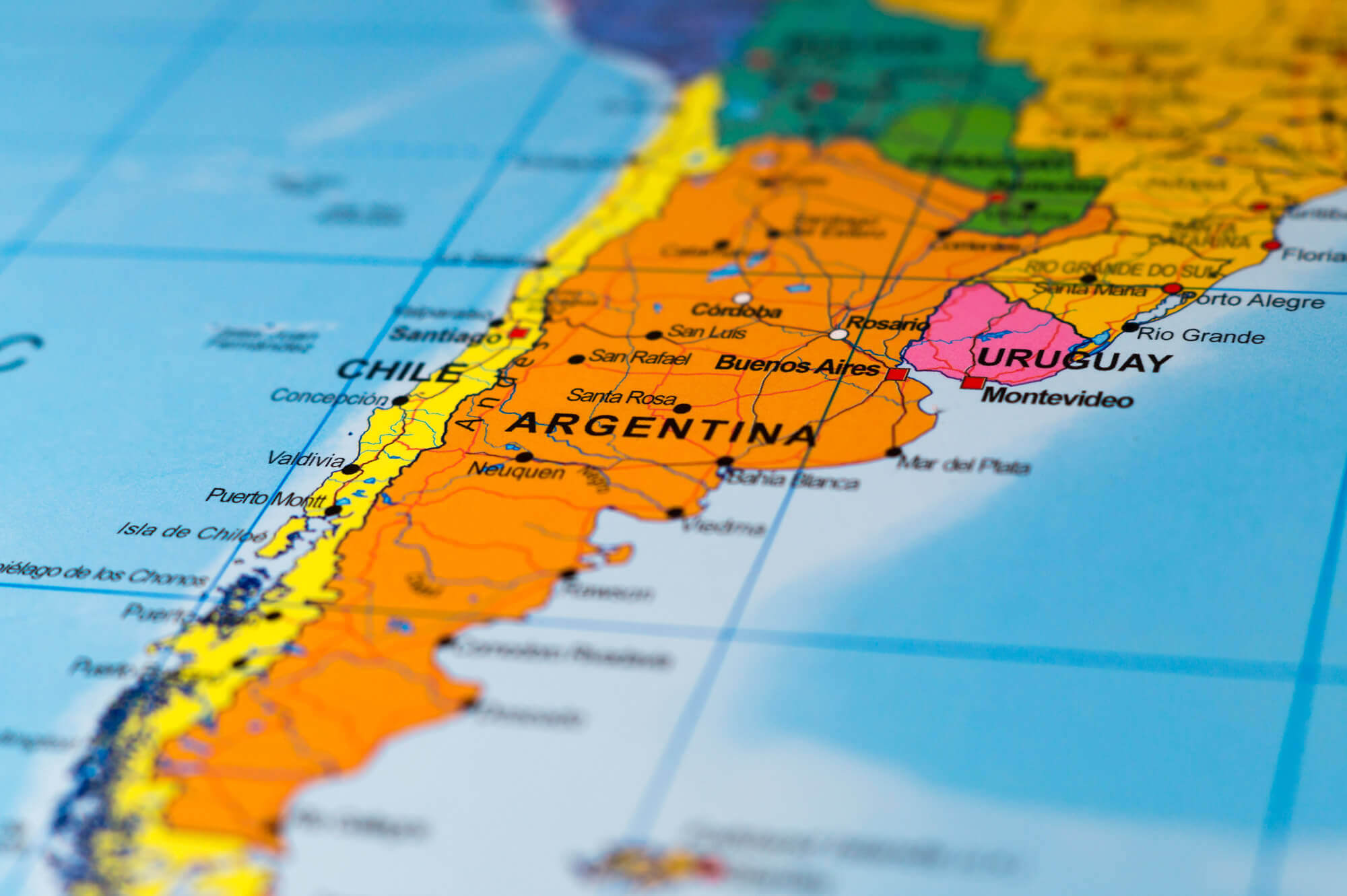 Map of Argentina with Shallow Focus