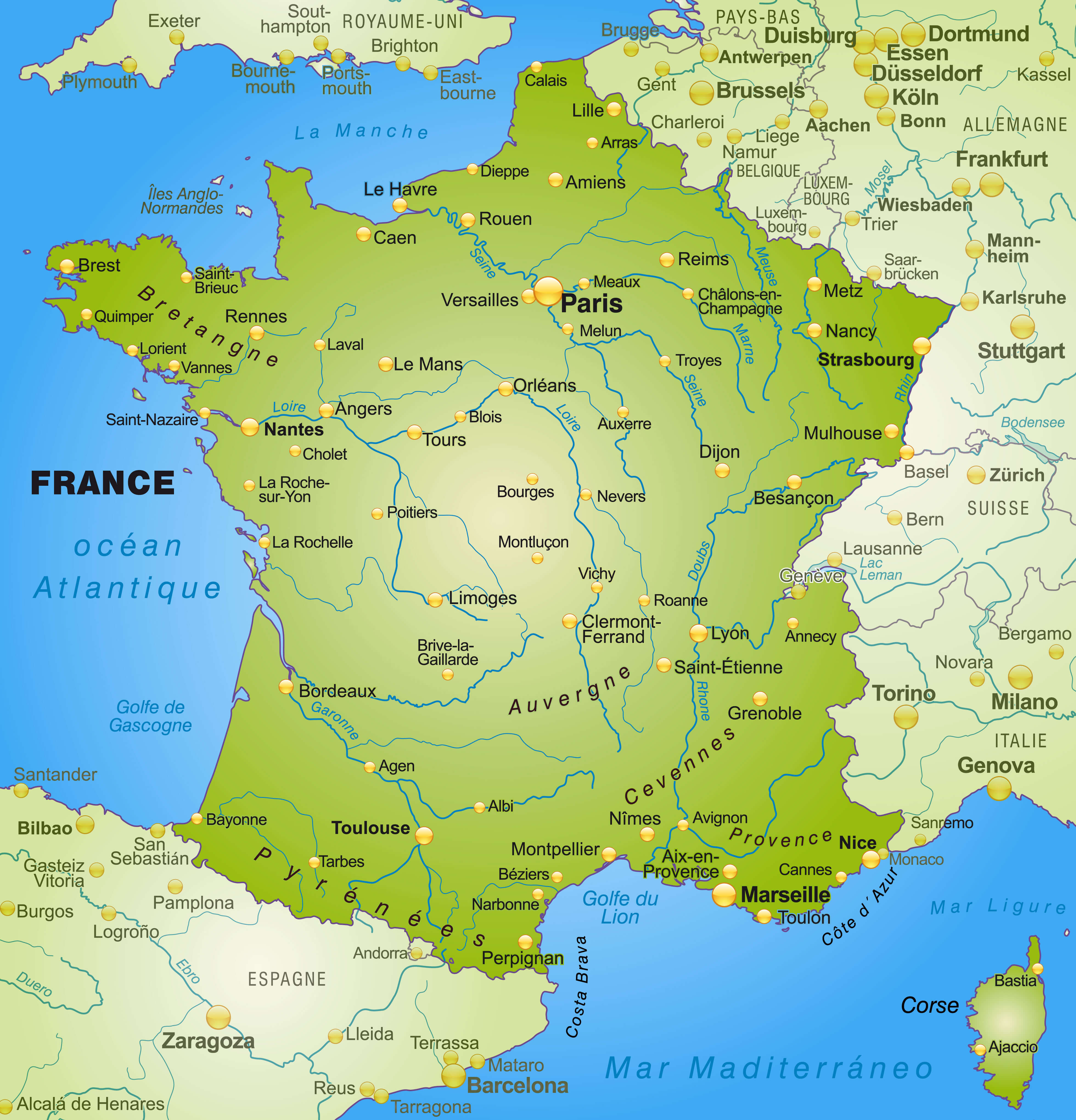 Map of France with Major Cities and Rivers