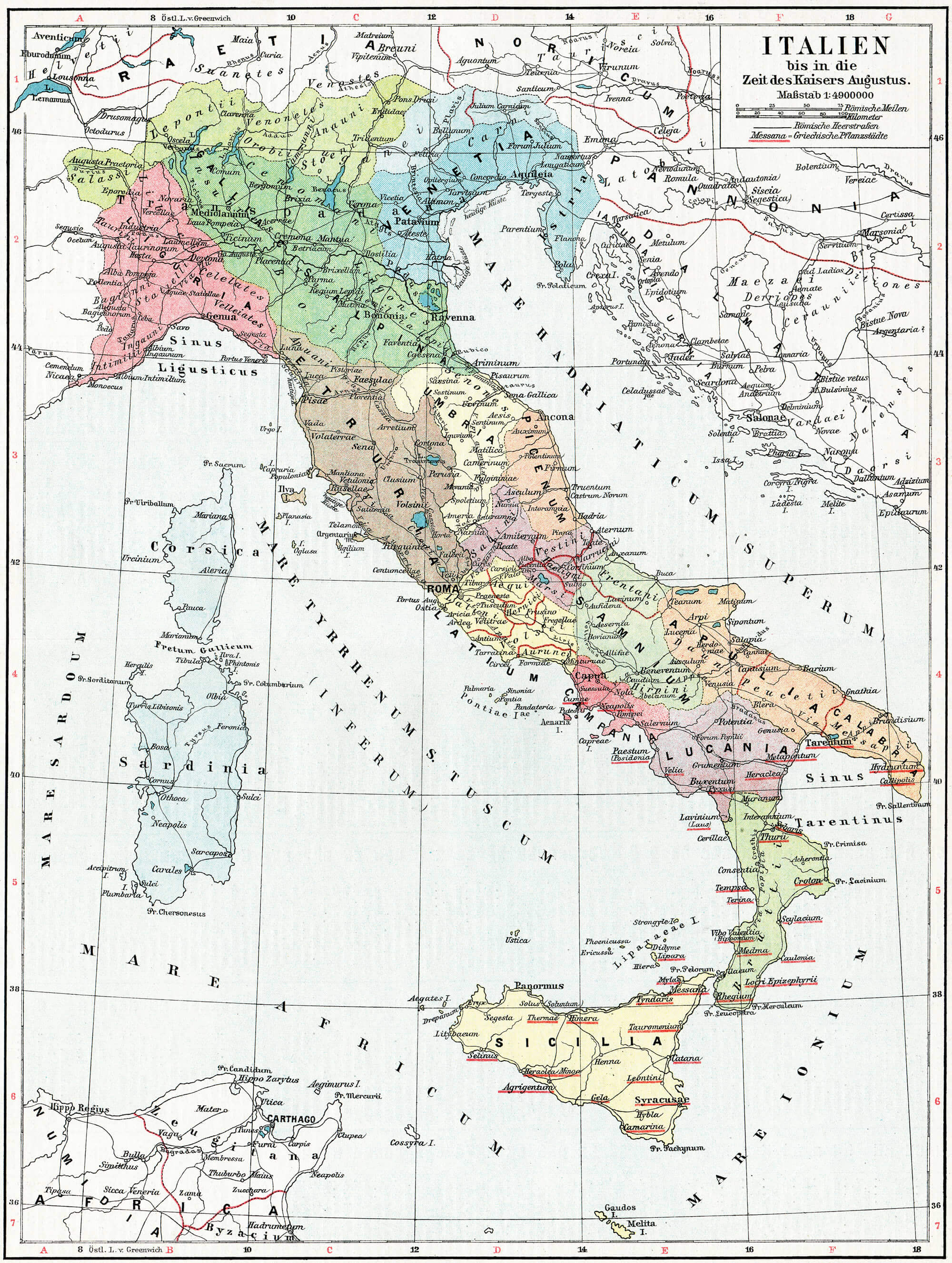 Map of Italy, the time of Emperor Augustus
