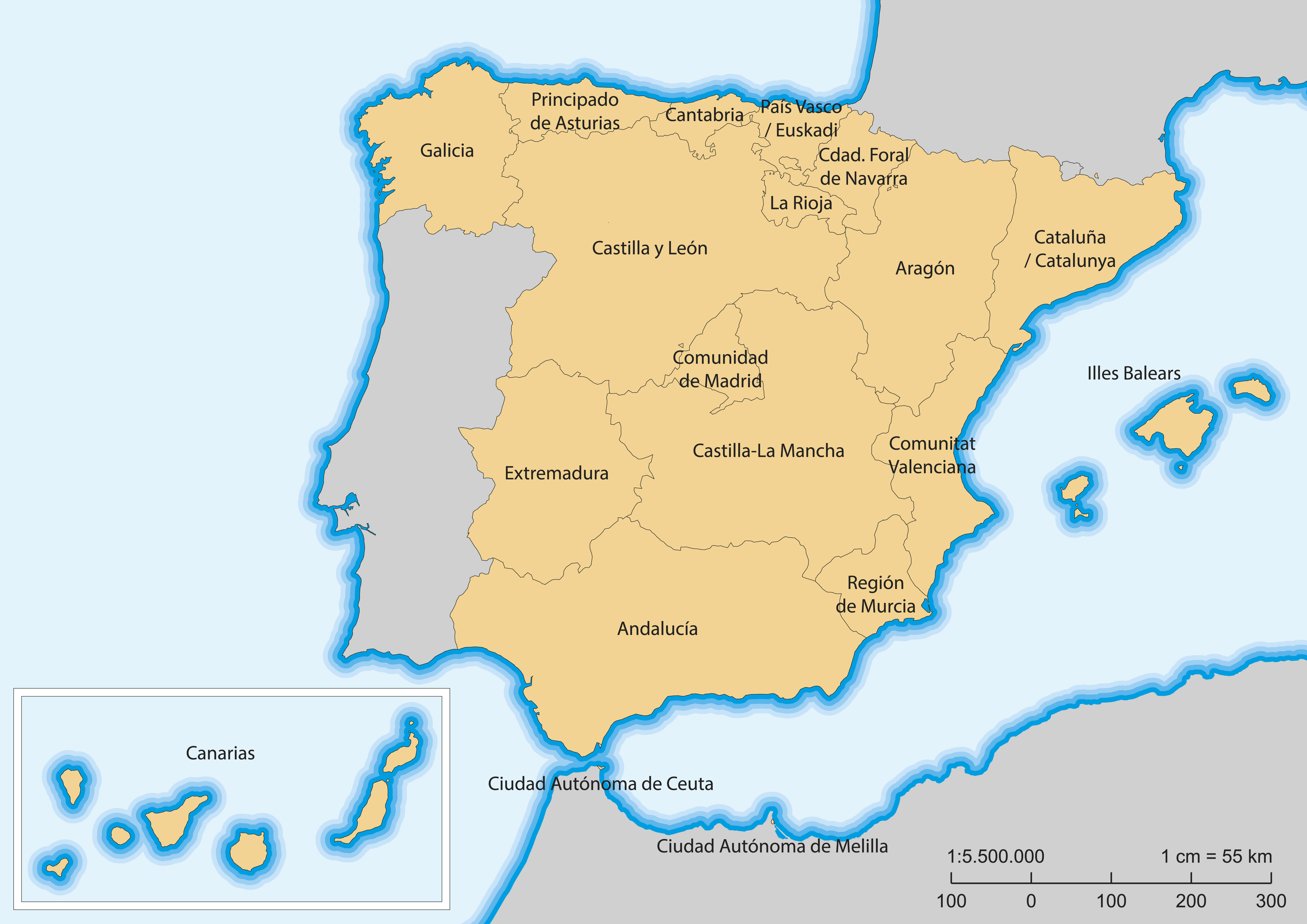 Map of Spain with Islands