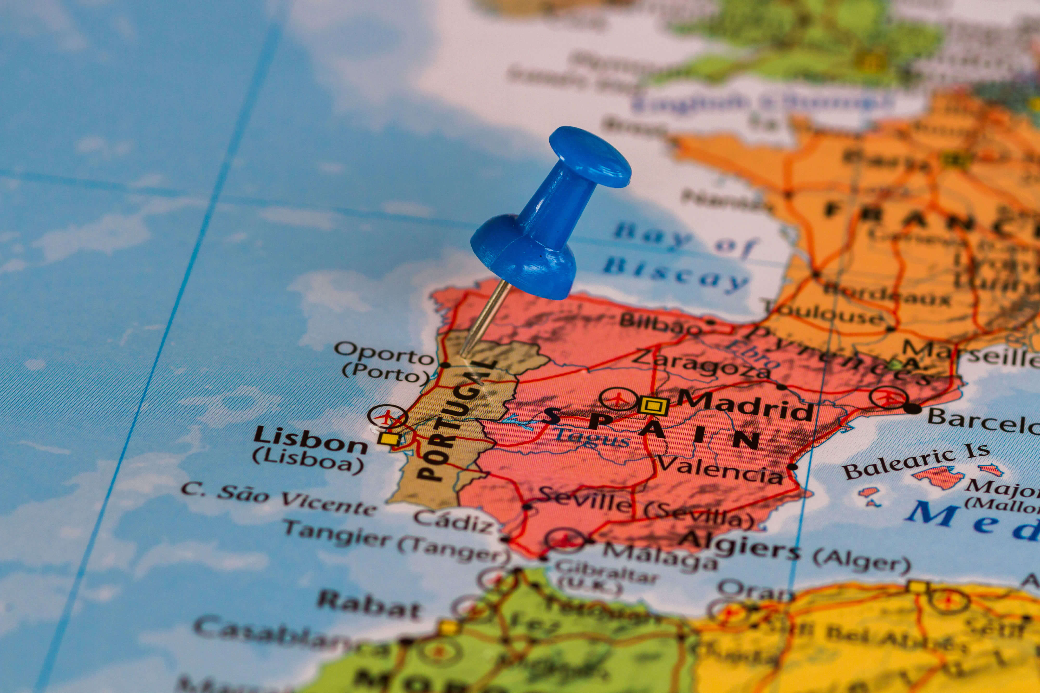 Map of Spain with Pushpin