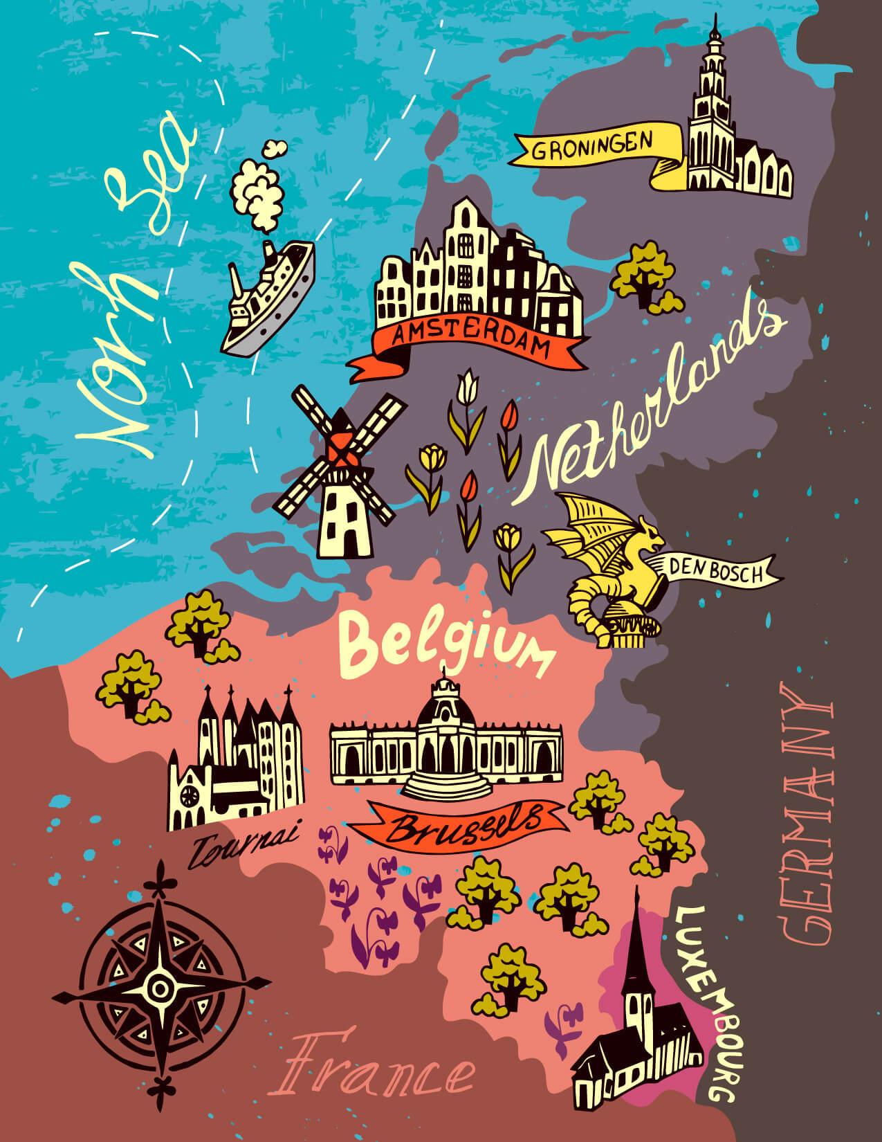 Netherlands, Belgium, Luxembourg Map