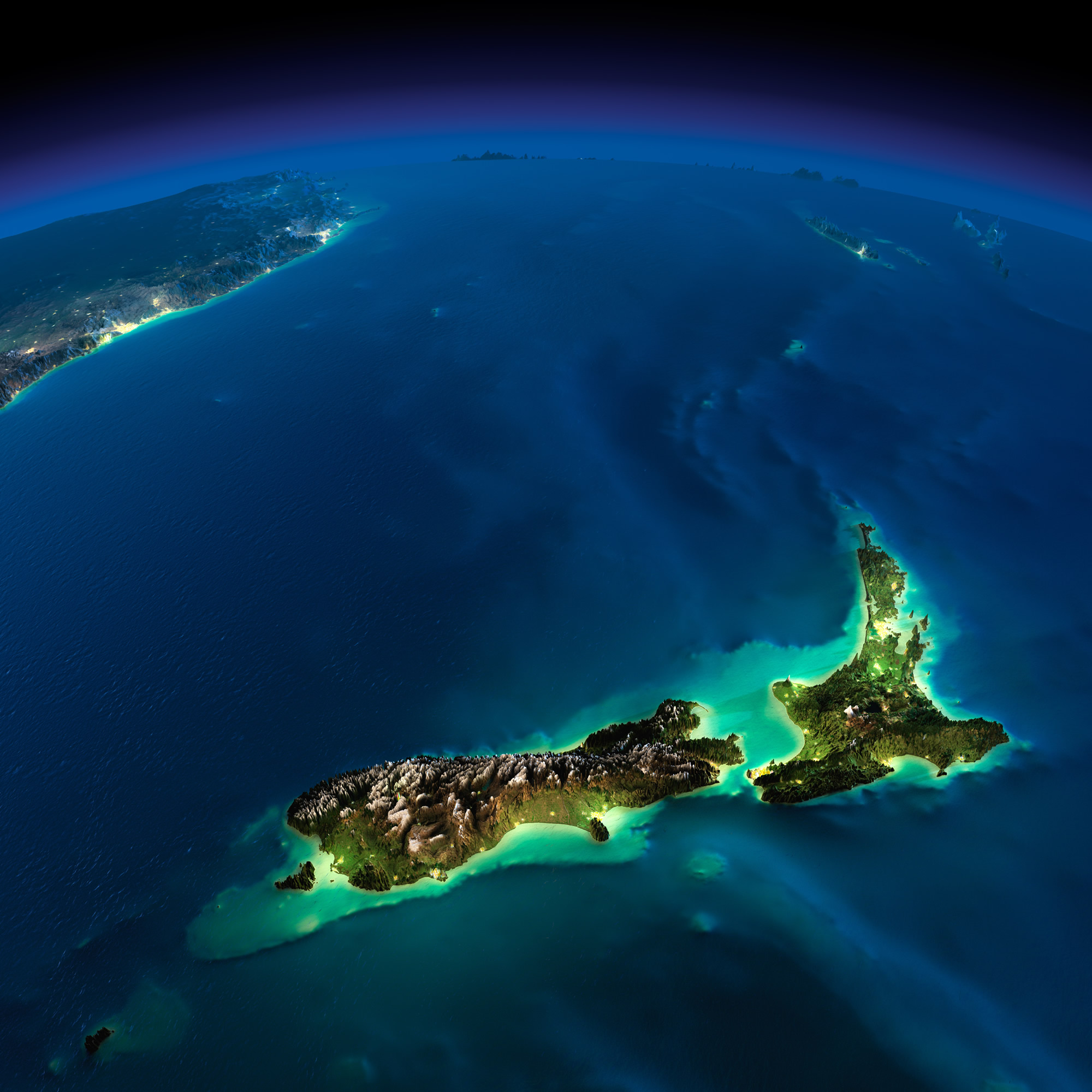 New Zealand Earth Map