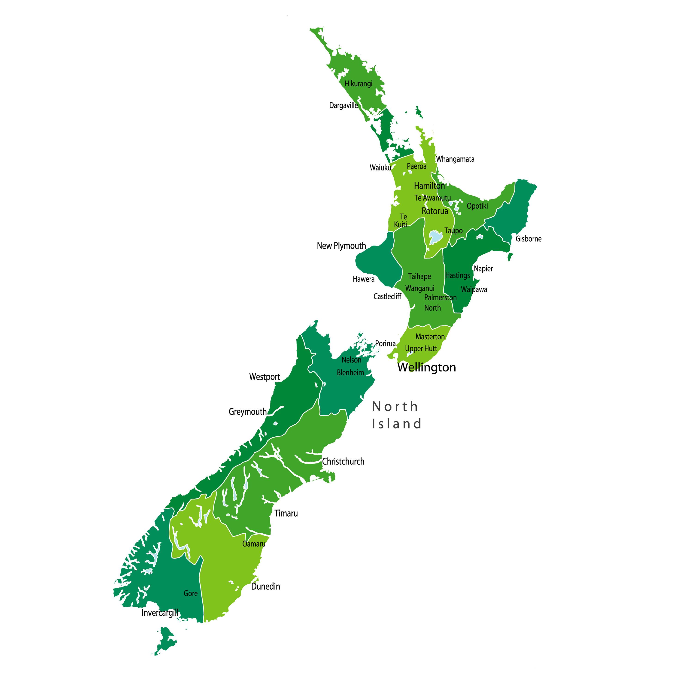 New Zealand Provinces Map