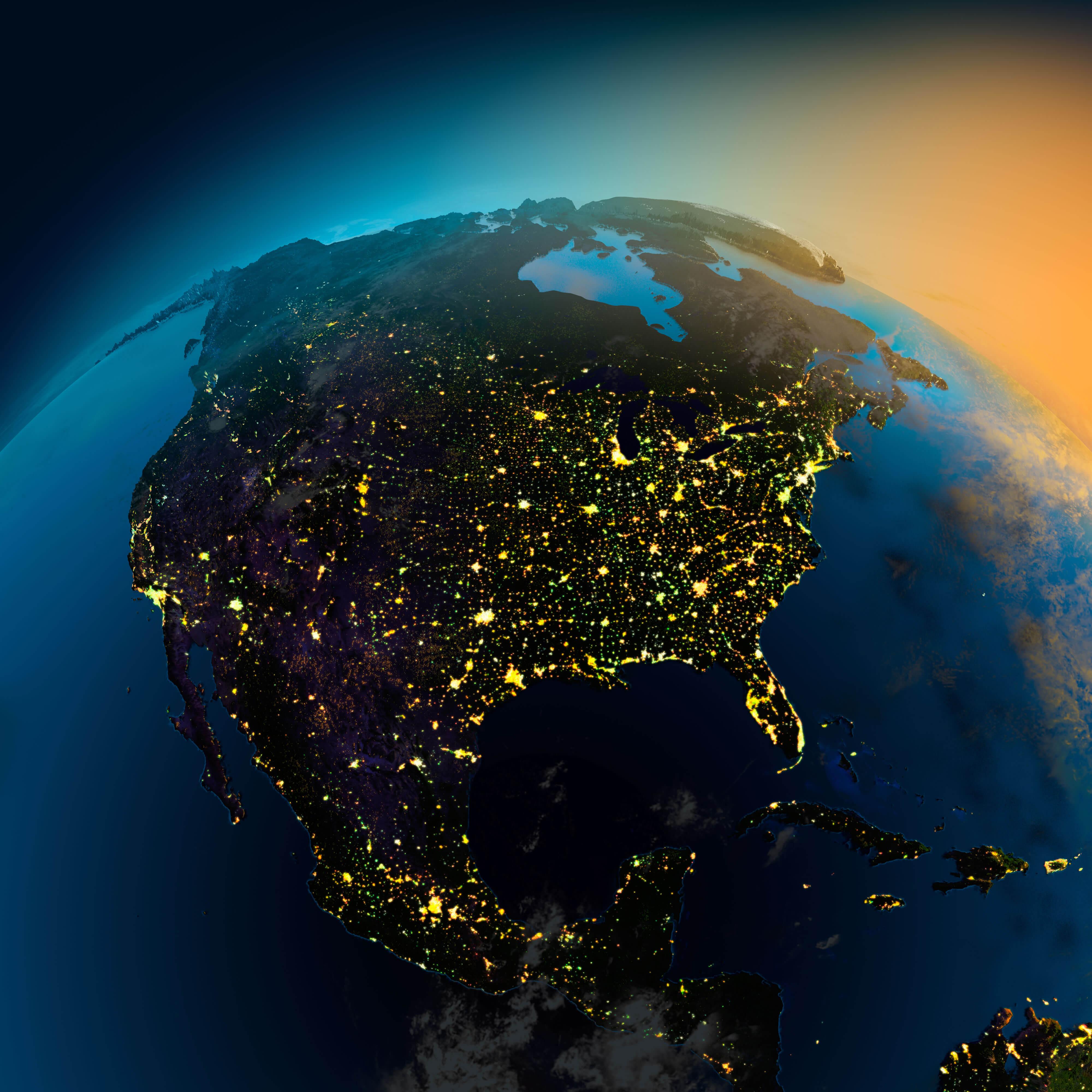 North America Satellite Map
