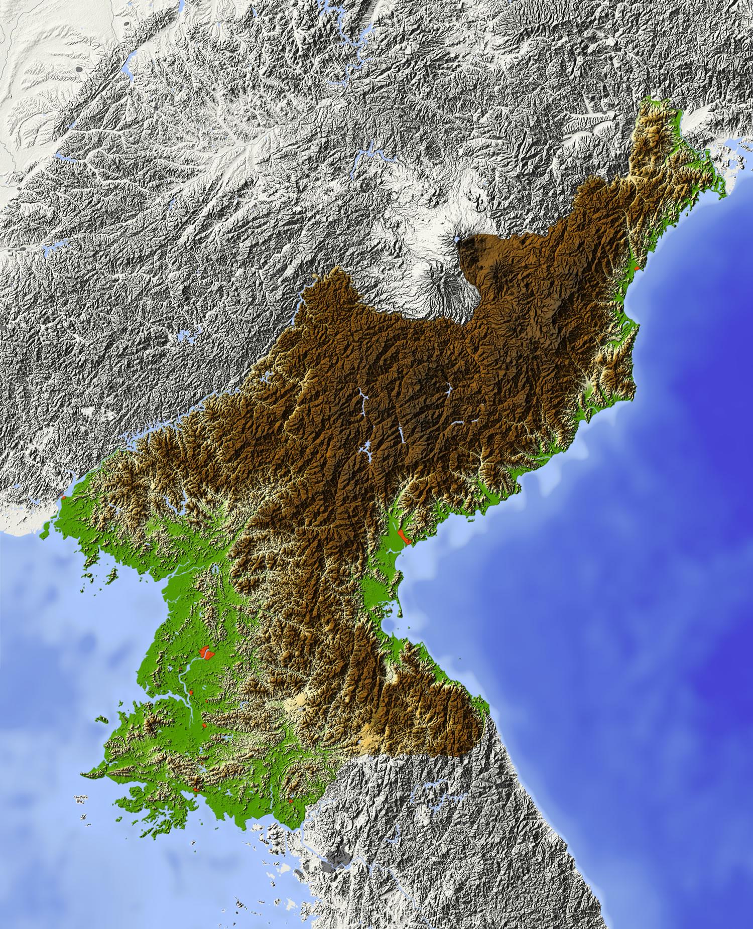 North Korea Relief Map