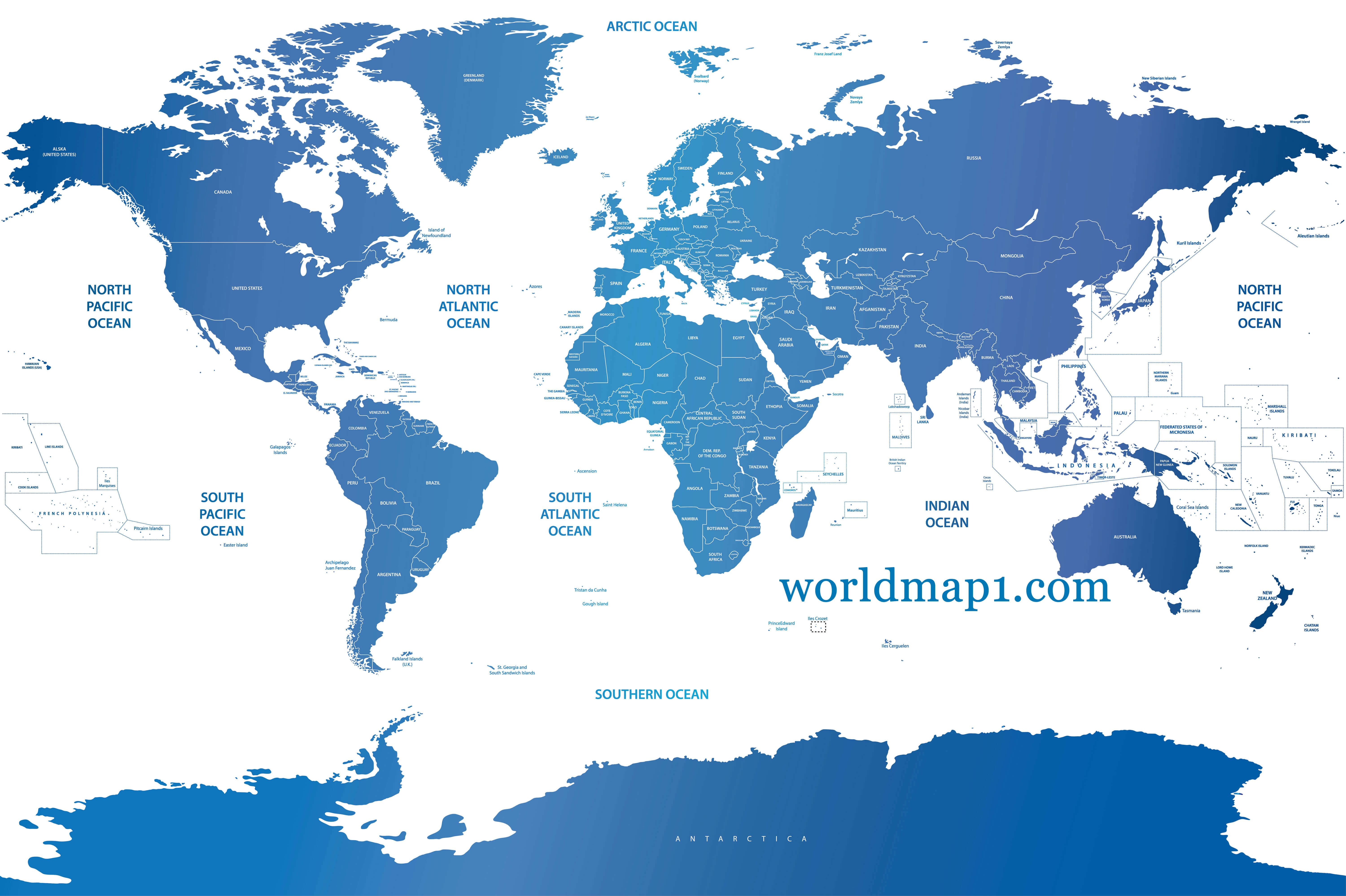 Oceania and Blue Political World Map