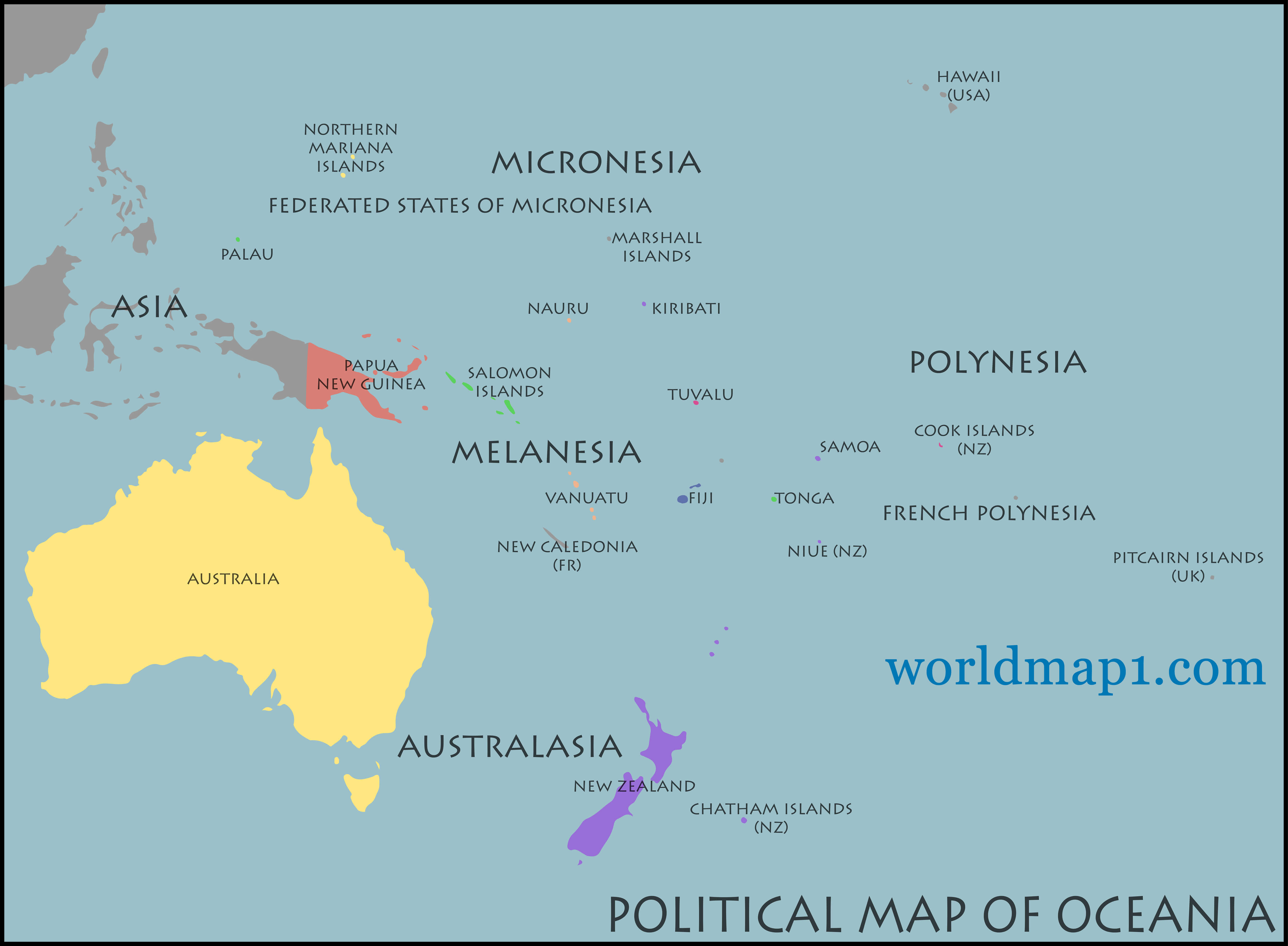 Oceania Countries Political Map
