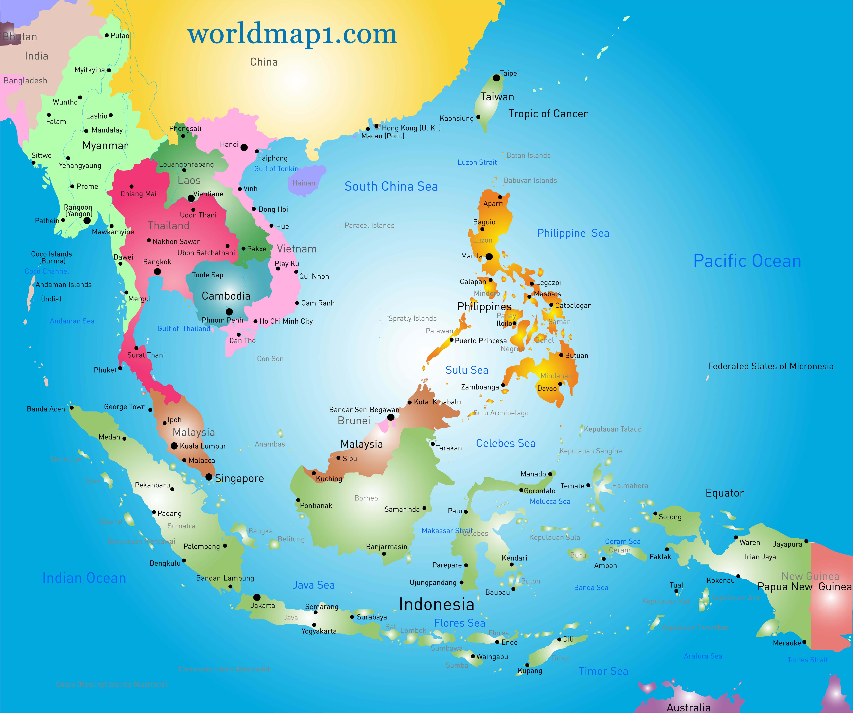 Oceania Map Southeast Asia