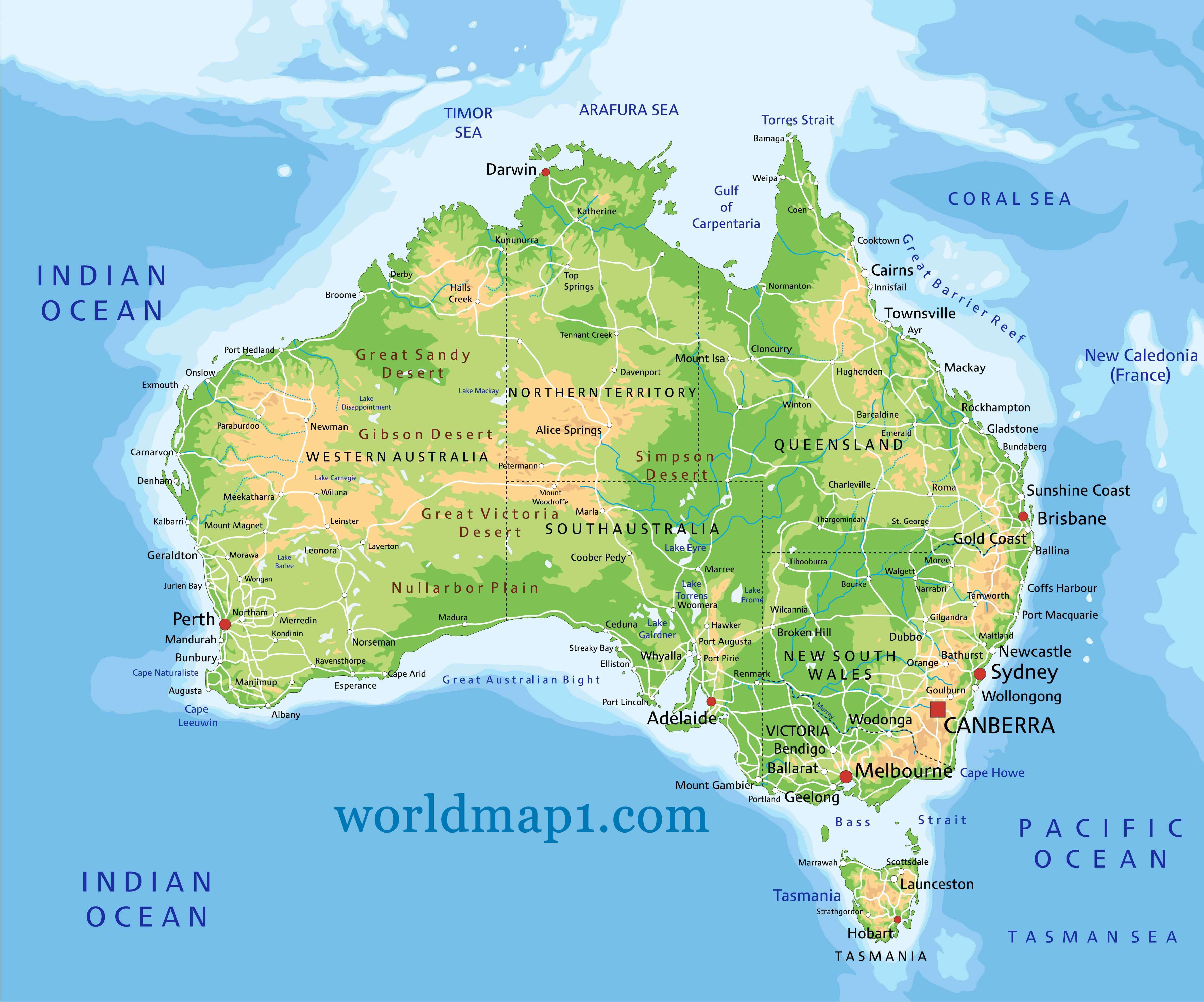 Oceania and Physical Map of Australia