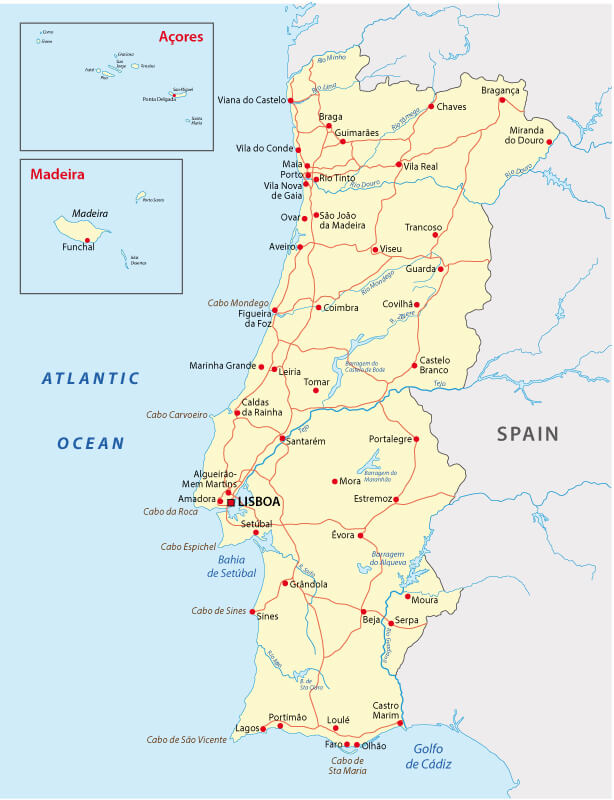 Portugal Roads and Rivers Map