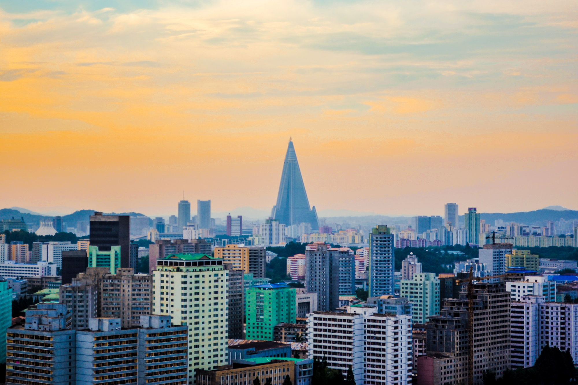 Pyramid-shaped skyscraper Pyongyang, North Korea