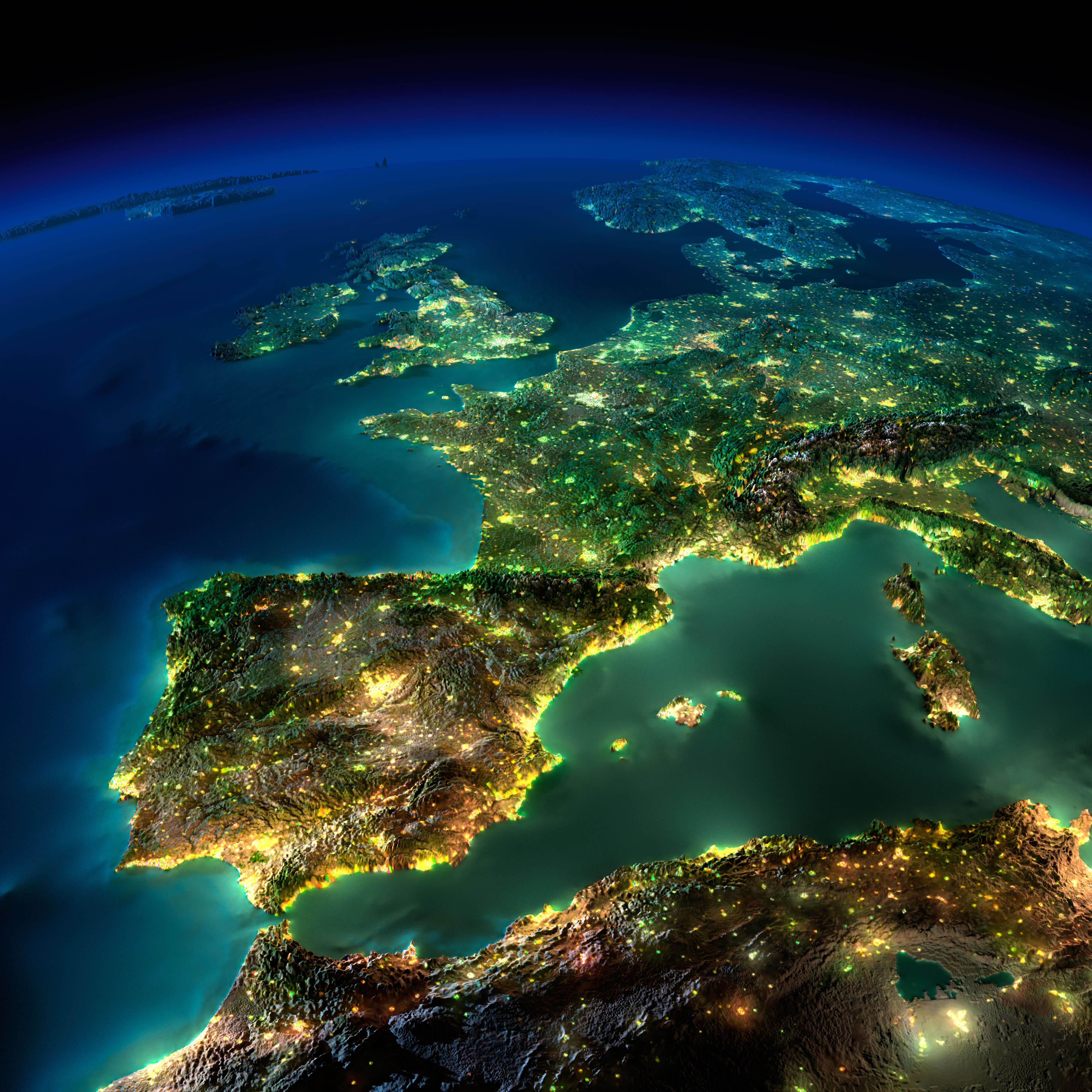 Spain & Europe Satellite Image with Moonlight