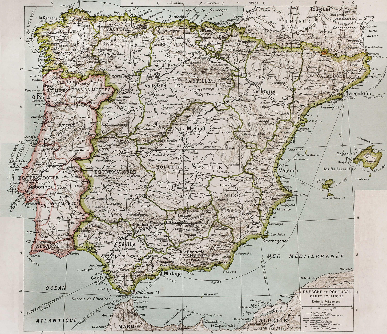 Spain Portugal Political Map 1894